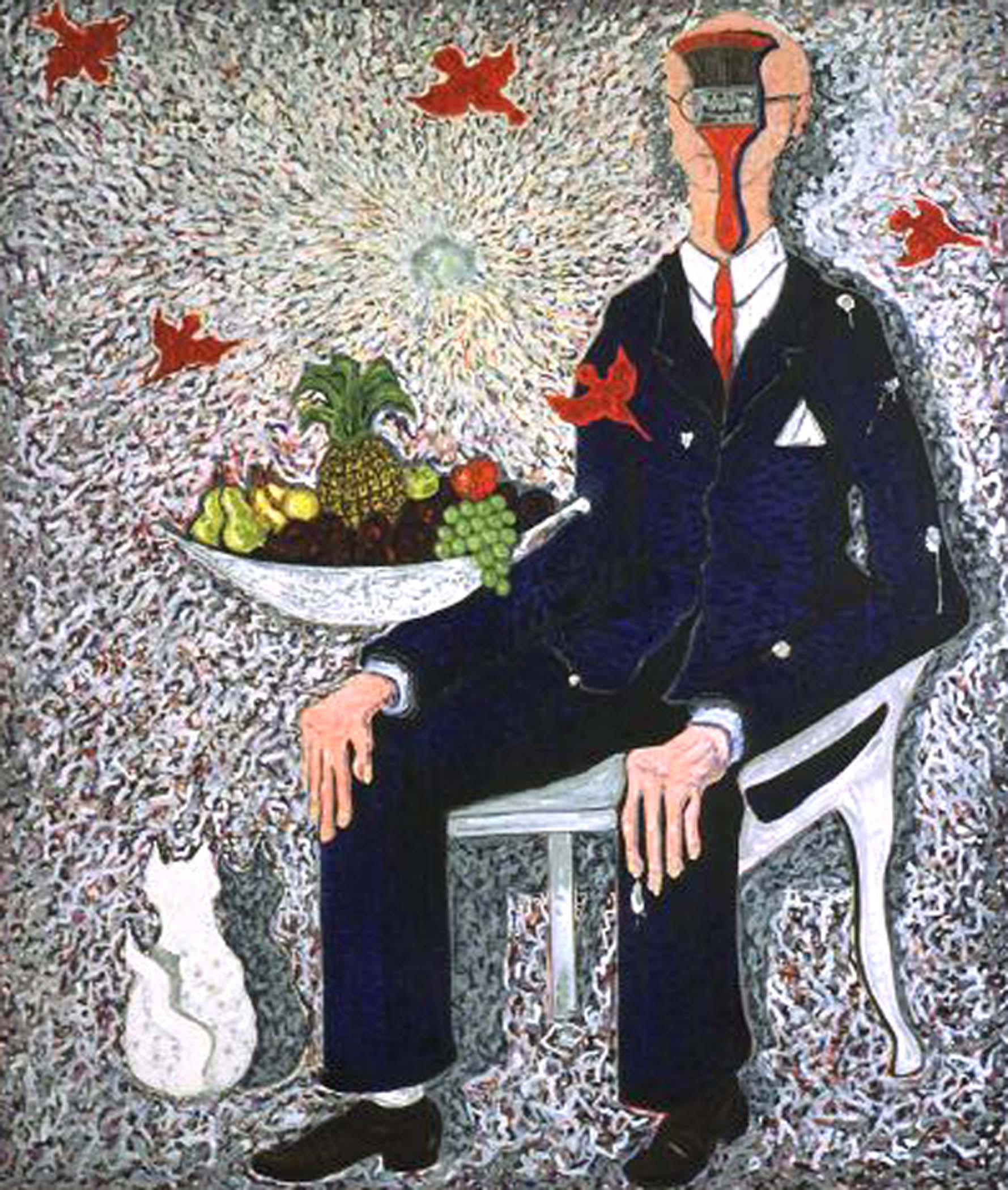 """Happiness is... , 2001, huile sur toile / oil on canvas, 68""""x 80"""", 172 x 203 cm."""