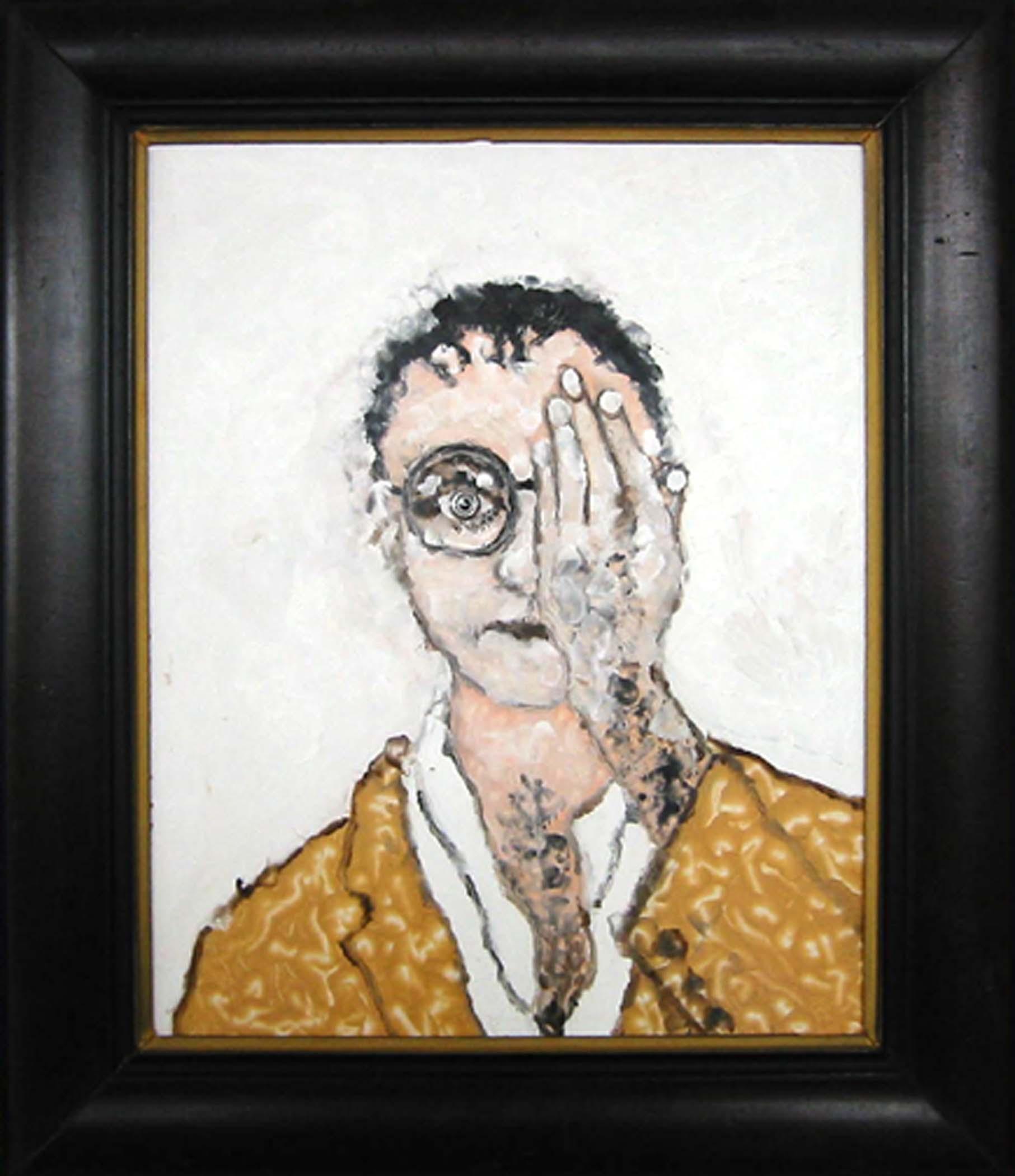 """Autoportrait,  2002, huile sur bois / oil on wood, framed, 24""""x 28"""", 61 x 71 cm."""