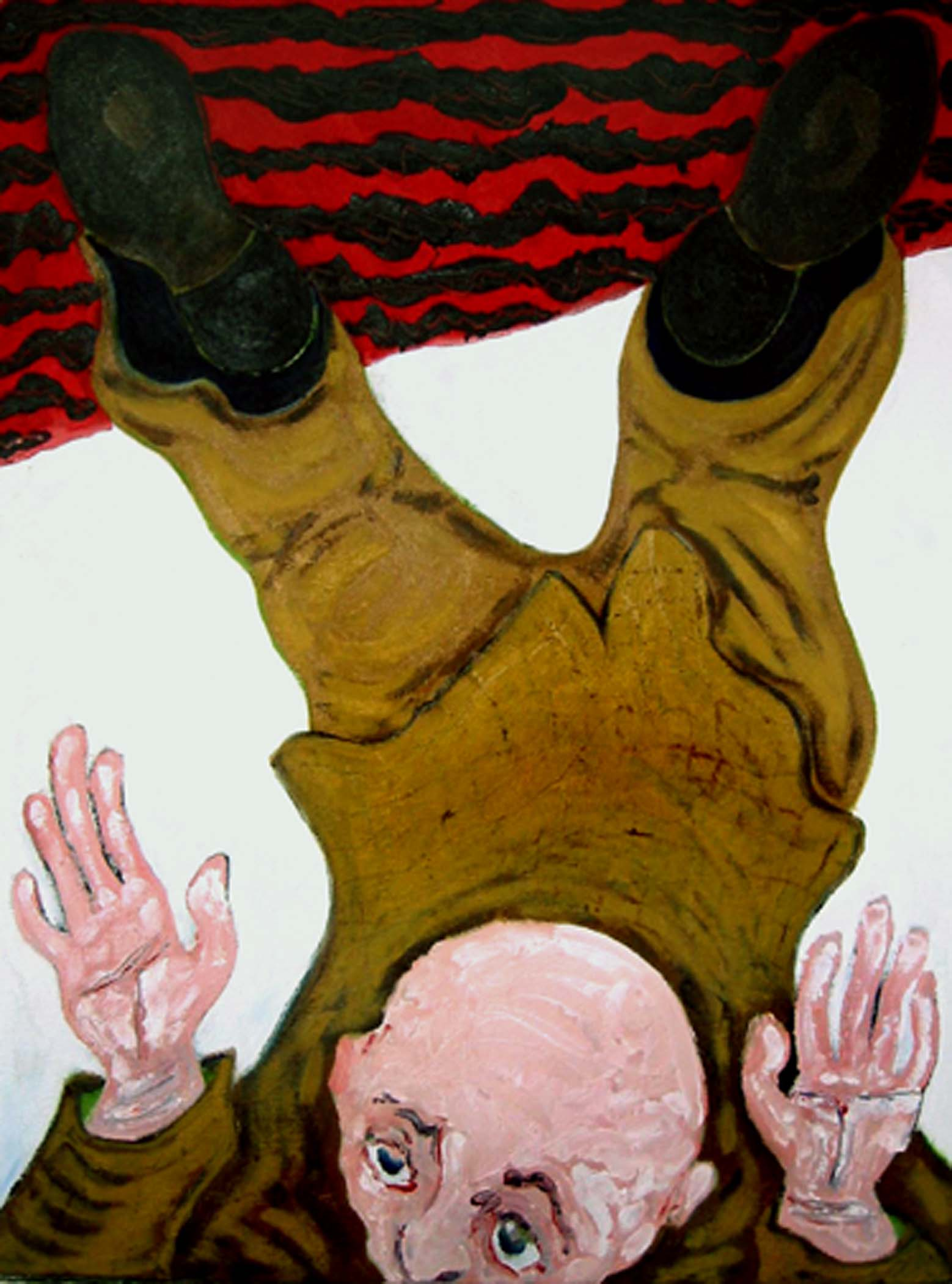 """Faire des pieds et des mains / Bending over backwards,  2002, huile sur toile / oil on canvas, 25""""x 19"""", 64 x 48 cm."""