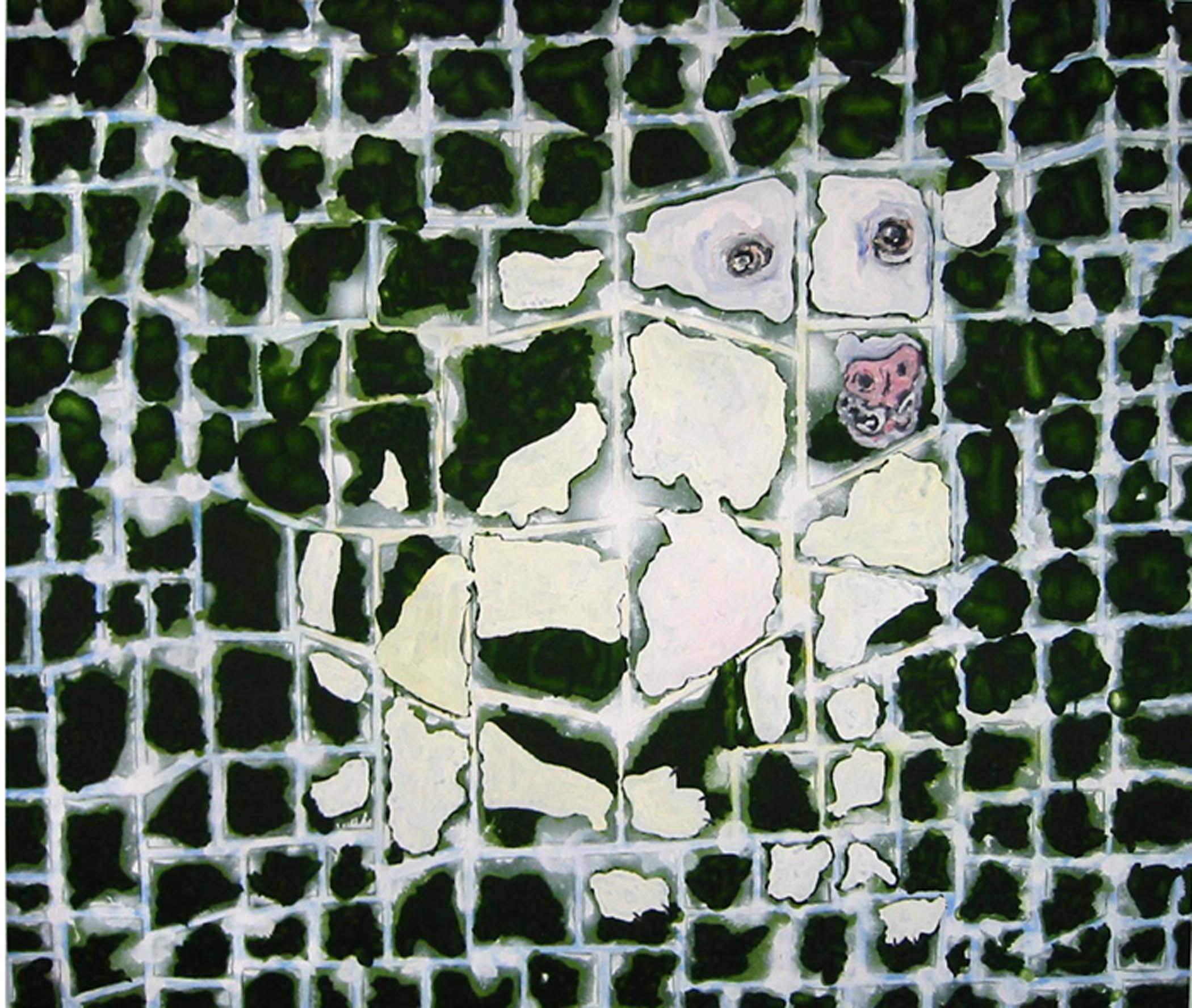 "Chien blanc sur vert / White dog on green,  2002, huile sur toile / oil on canvas, 56""x 48"", 90 x 122 cm."
