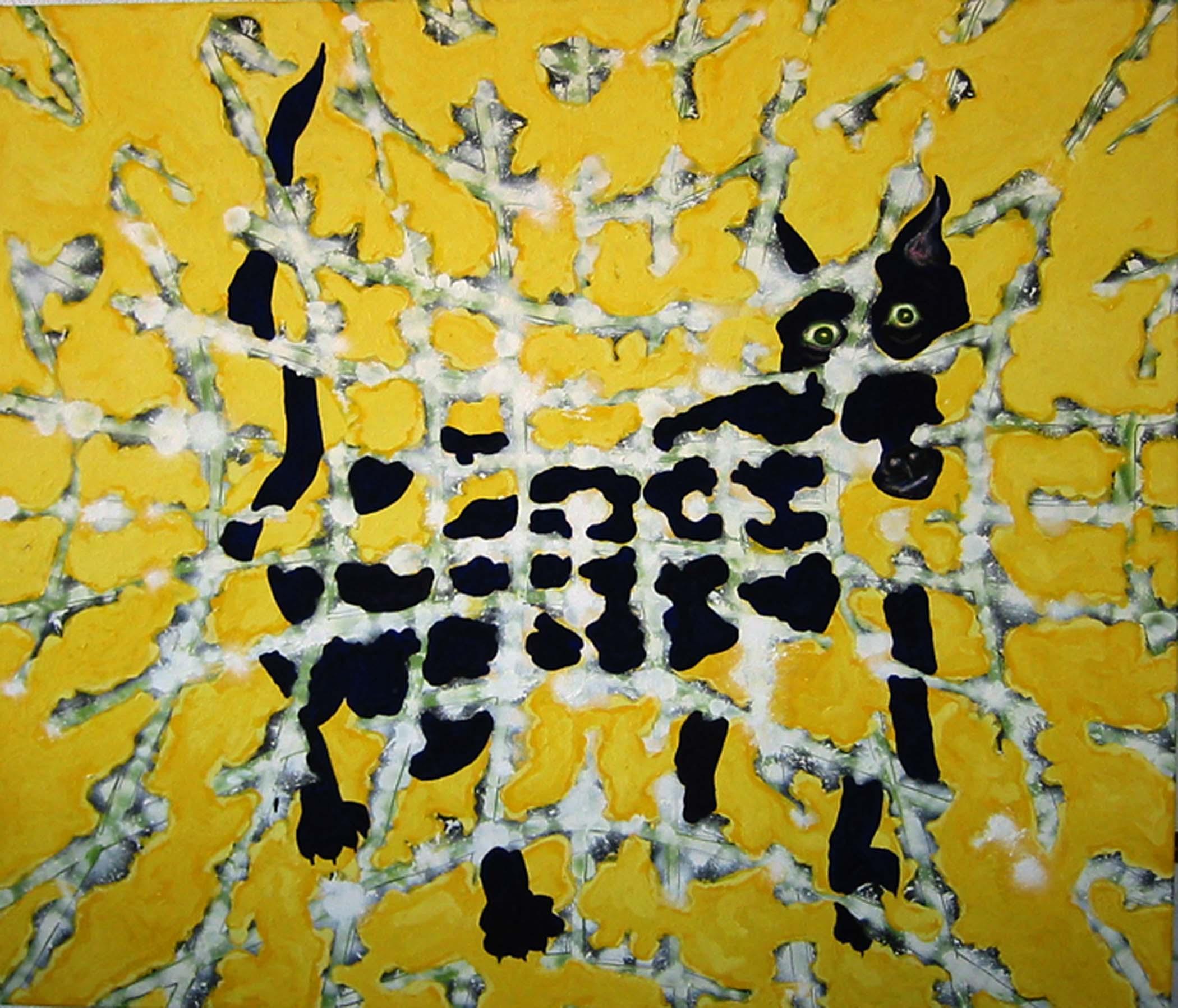 """Chien bleu sur jaune / Blue dog on yellow,  2002, huile sur toile / oil on canvas, 56""""x 48"""", 90 x 122 cm."""