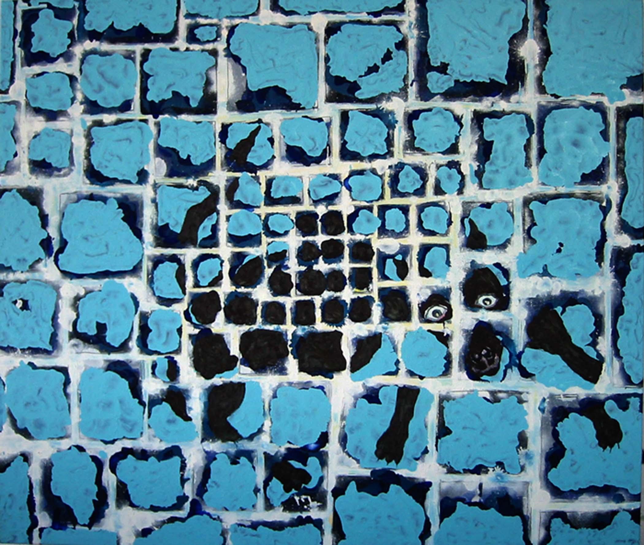 """Chien brun sur bleu / Brown dog on blue,  2002, huile sur toile / oil on canvas, 56""""x 48"""", 90 x 122 cm."""