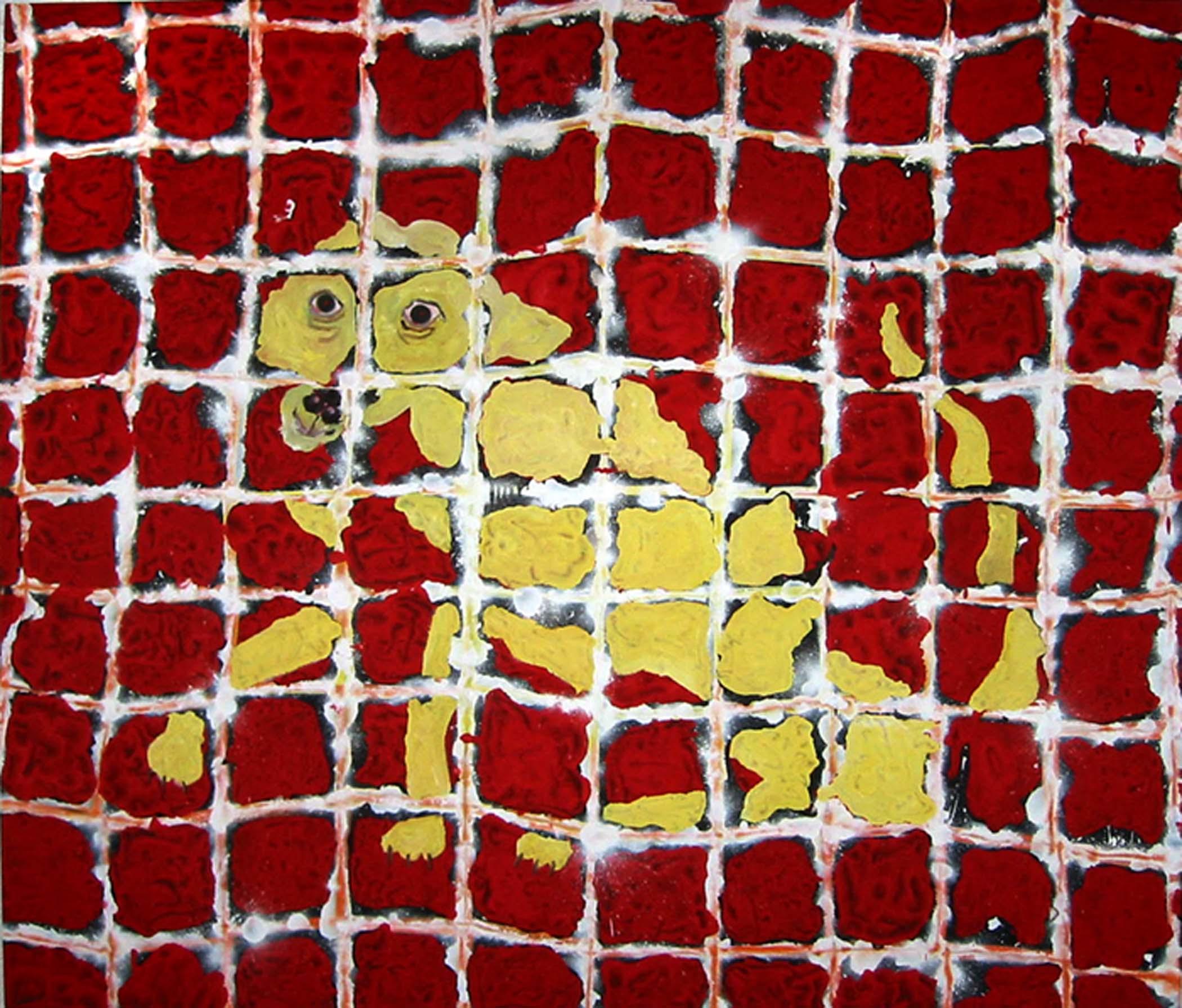 "Chien jaune sur rouge / Yellow dog on red,  2002, huile sur toile / oil on canvas, 56""x 48"", 90 x 122 cm."