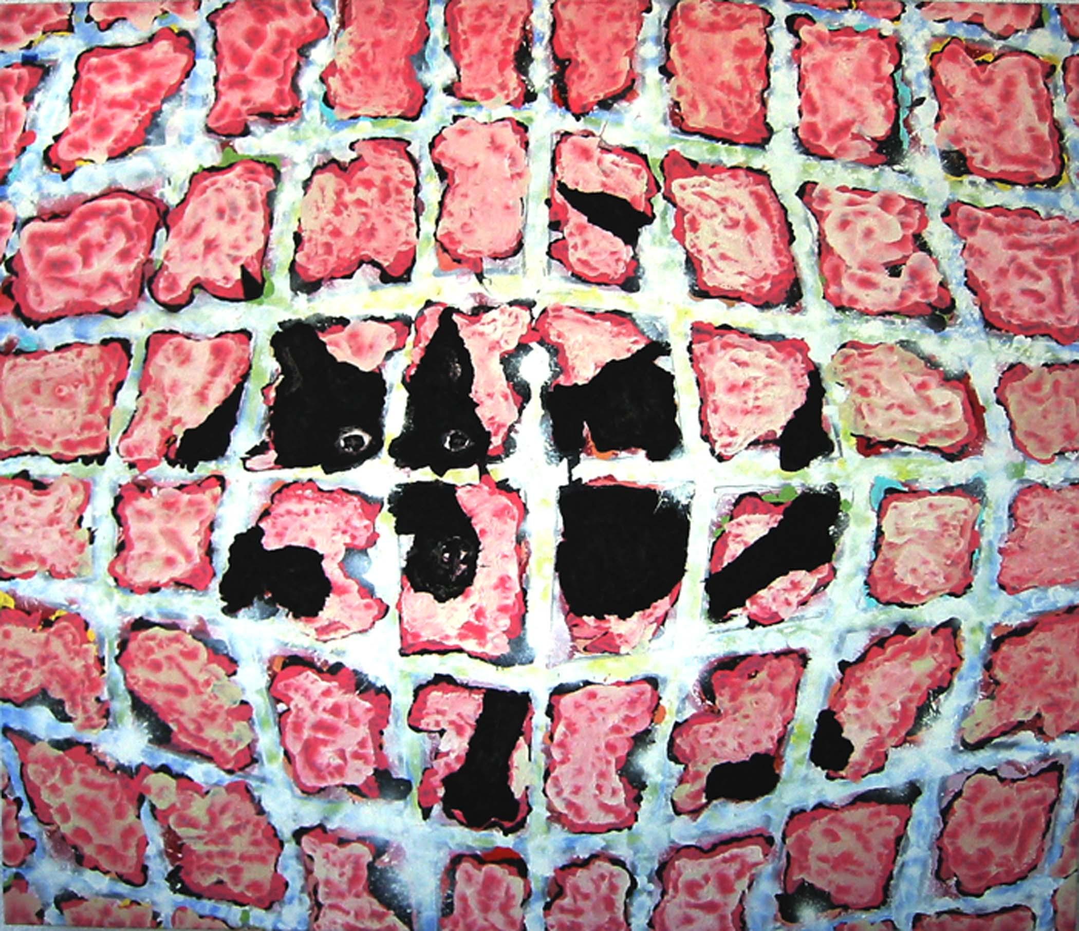 """Chien noir sur rose / Black dog on pink,  2002, huile sur toile / oil on canvas, 56""""x 48"""", 90 x 122 cm."""