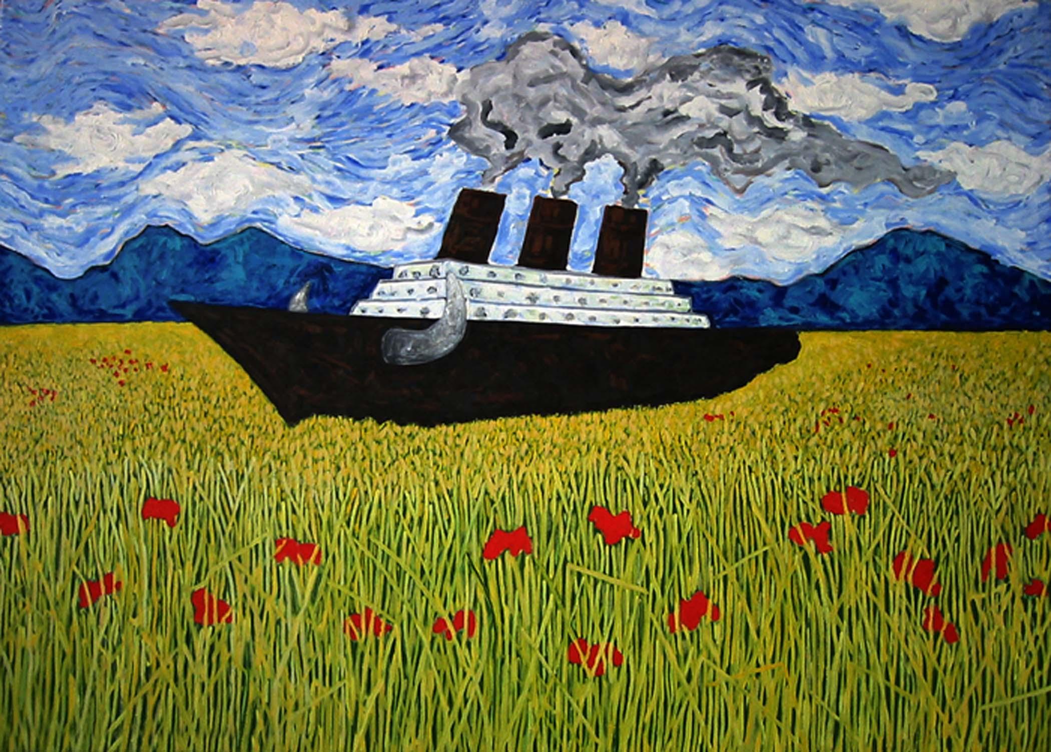 """Vache folle / Mad cow,  2002, huile sur toile / oil on canvas, 40""""x 56"""", 102 x 143 cm."""