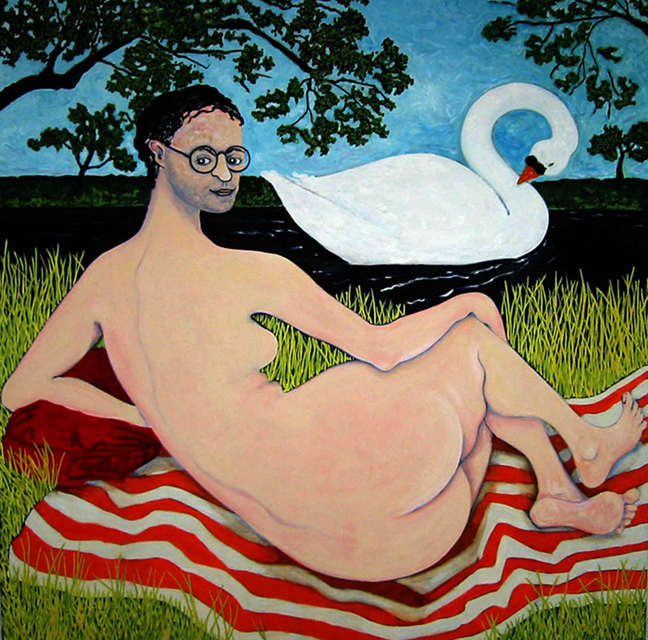 """Léda,  2002, huile sur toile / oil on canvas, 69""""x 69"""", 175 x 175 cm."""