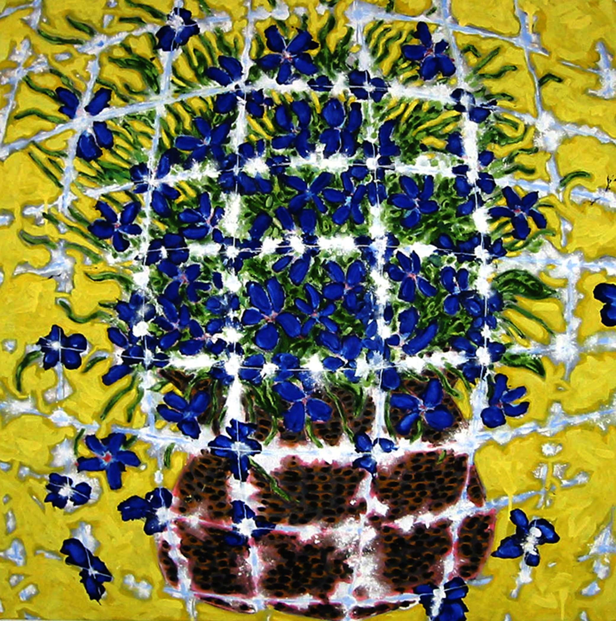 """Pot de fleurs qui explose / Exploding flower pot,  2002, huile sur toile / oil on canvas, 36""""x 36"""", 91 x 91 cm."""