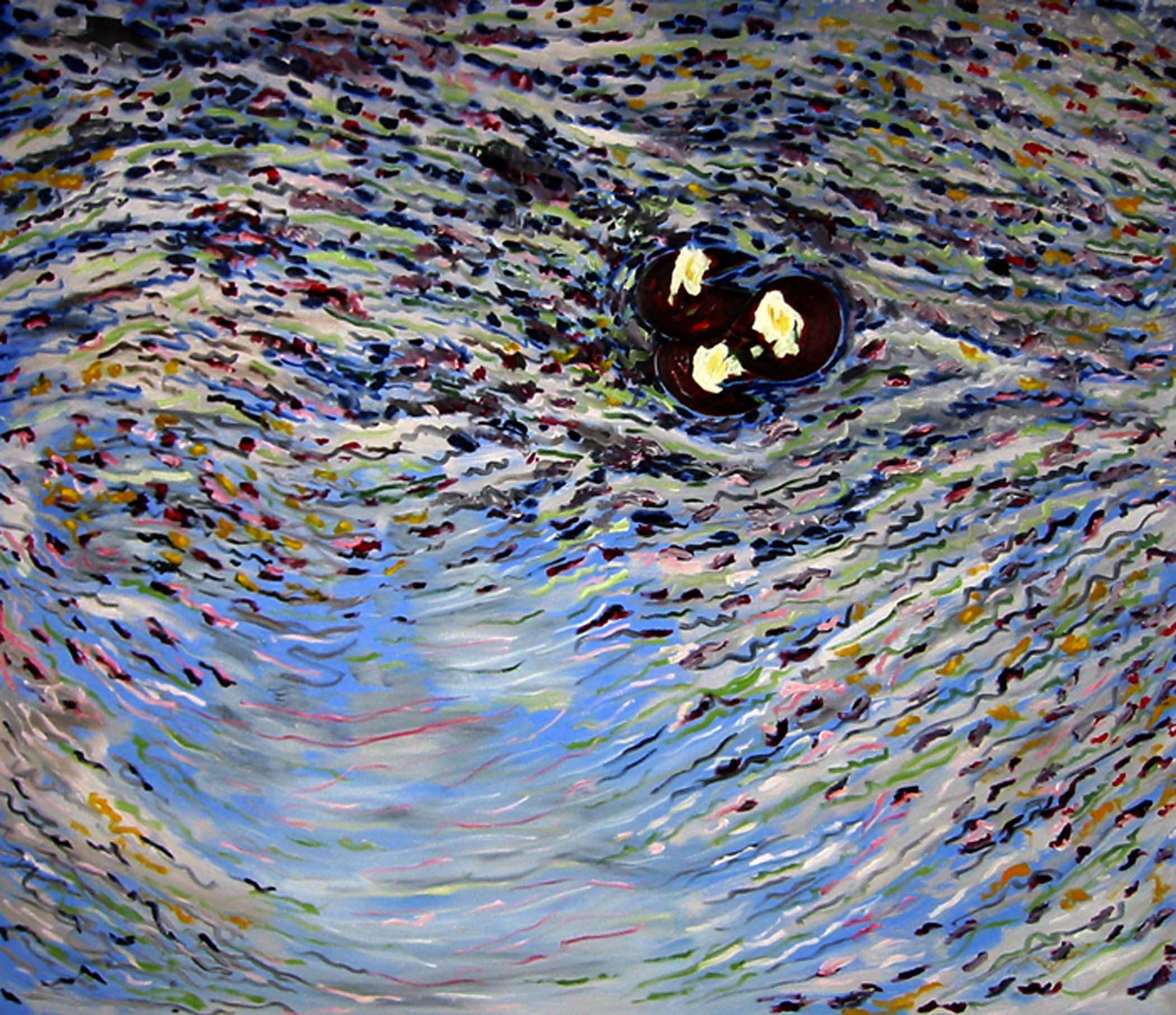 """Reflexions on my pond with waterlilies,  2005, huile sur toile / oil on canvas, 56""""x 48"""", 142 x 122 cm."""