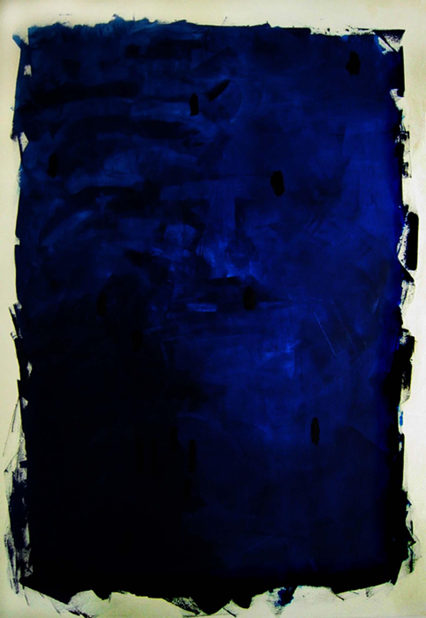 """Étant bleu / Being blue,  2005, huile sur toile / oil on canvas, 92""""x 63"""", 234 x 160 cm."""