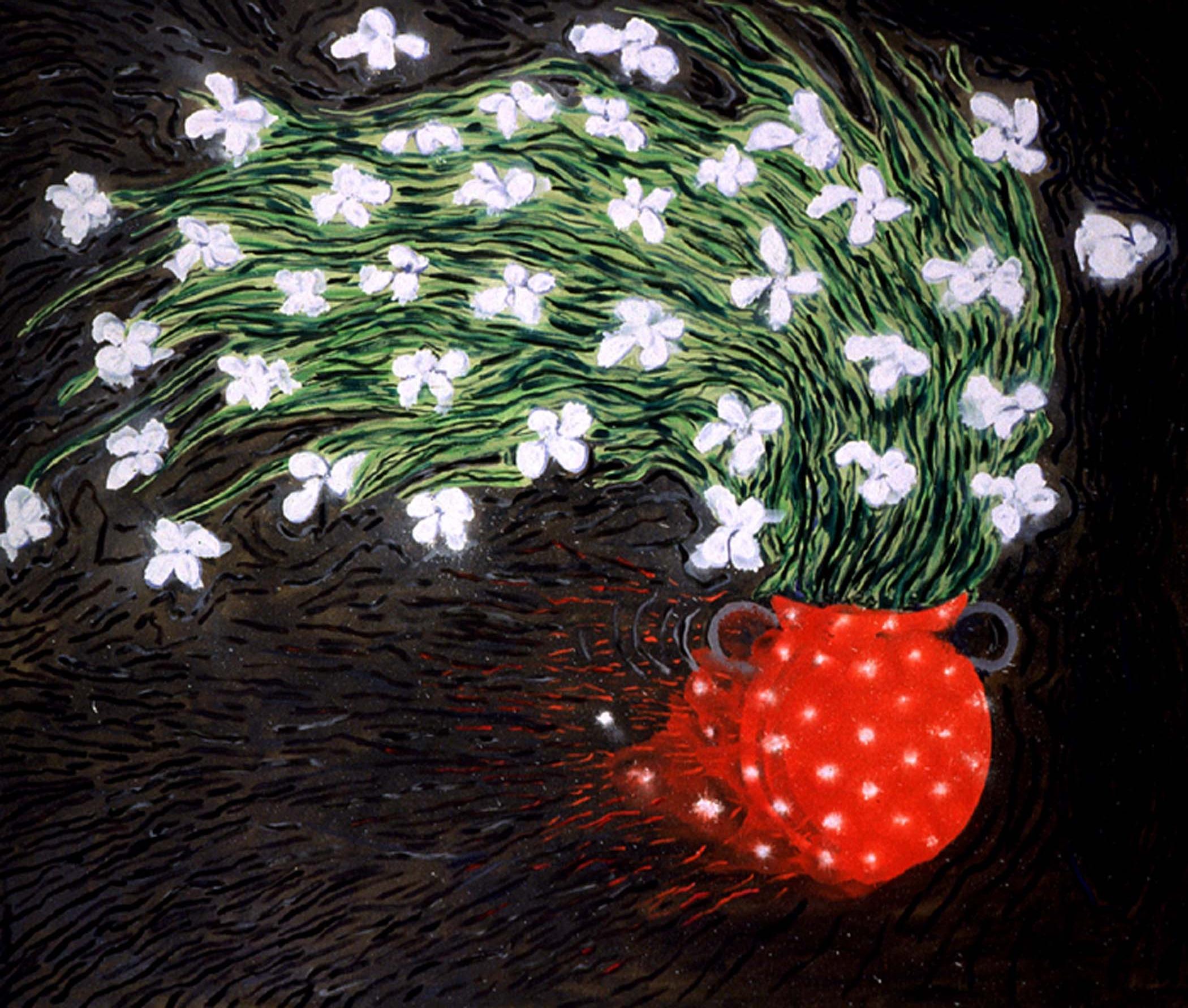 """Pot de fleurs fuyant / Fleeing flower pot,  2000, huile sur toile / oil on canvas, 68""""x 80"""", 172 x 203 cm."""