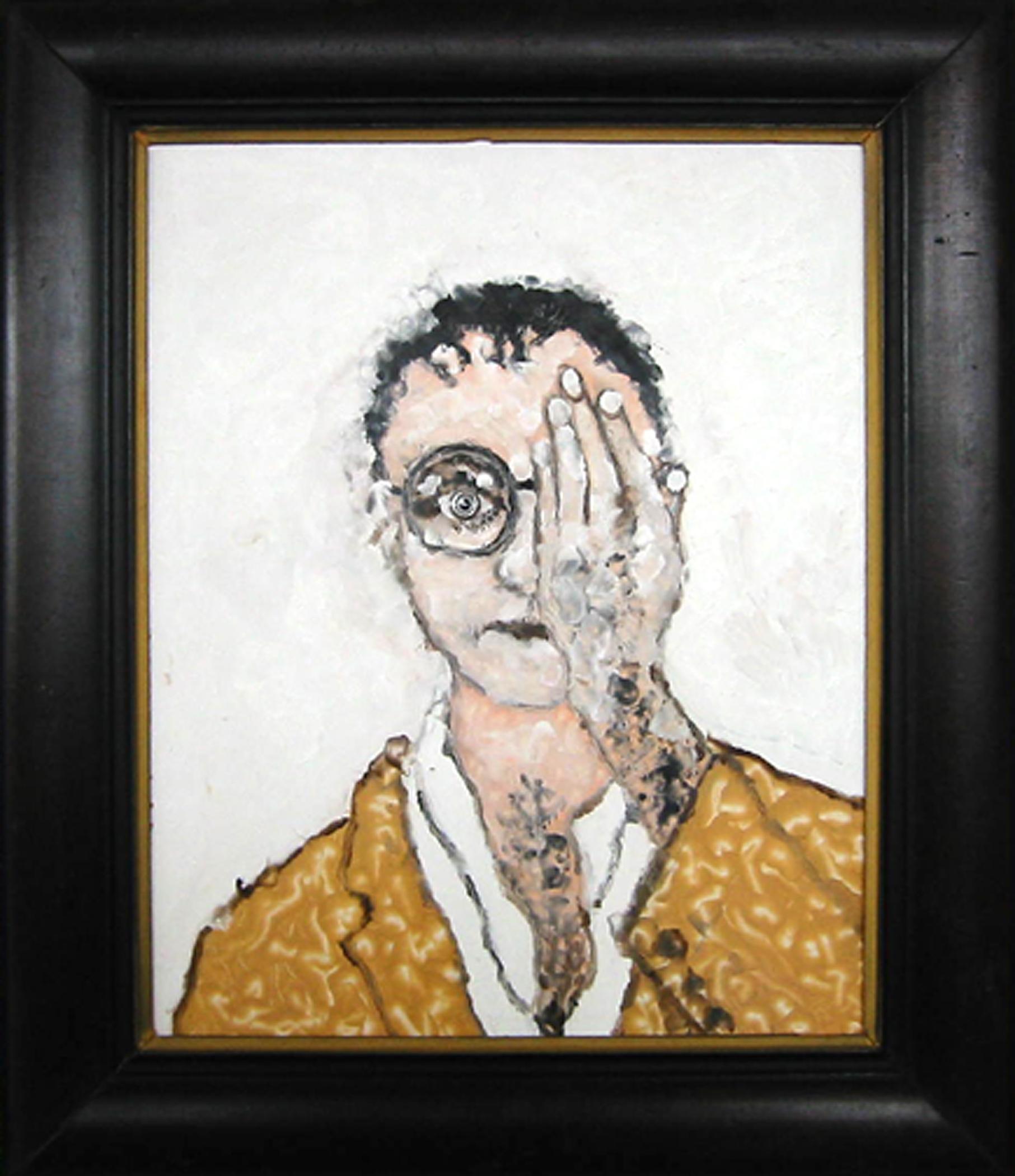 """Autoportrait, 2002, huile sur bois / oil on wood, encadré / framed, 24""""x 28"""", 61 x 71 cm."""