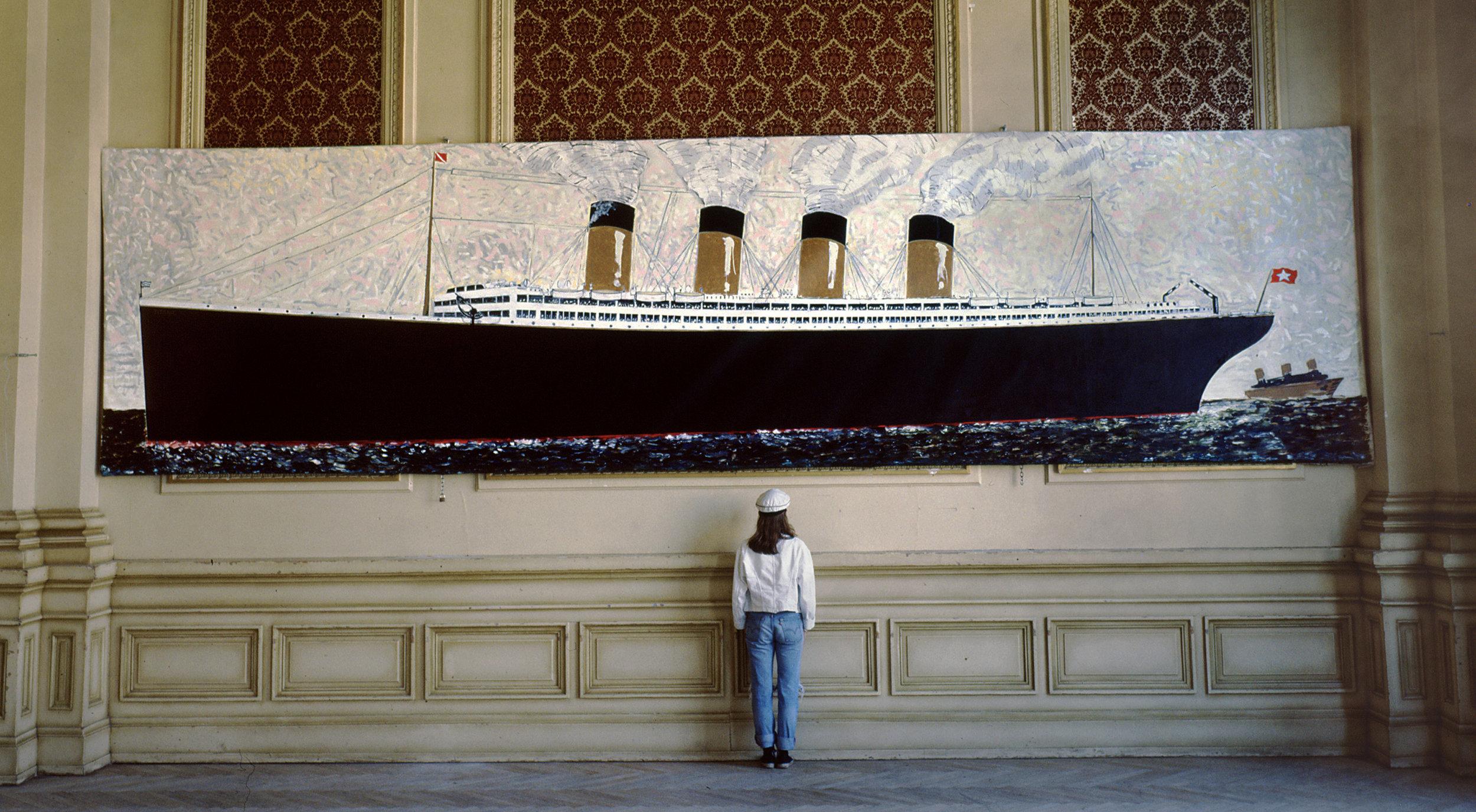 Titanic,  1988, huile sur toile / oil on canvas, 27'x 7', 8,2 m x 2,5 m.