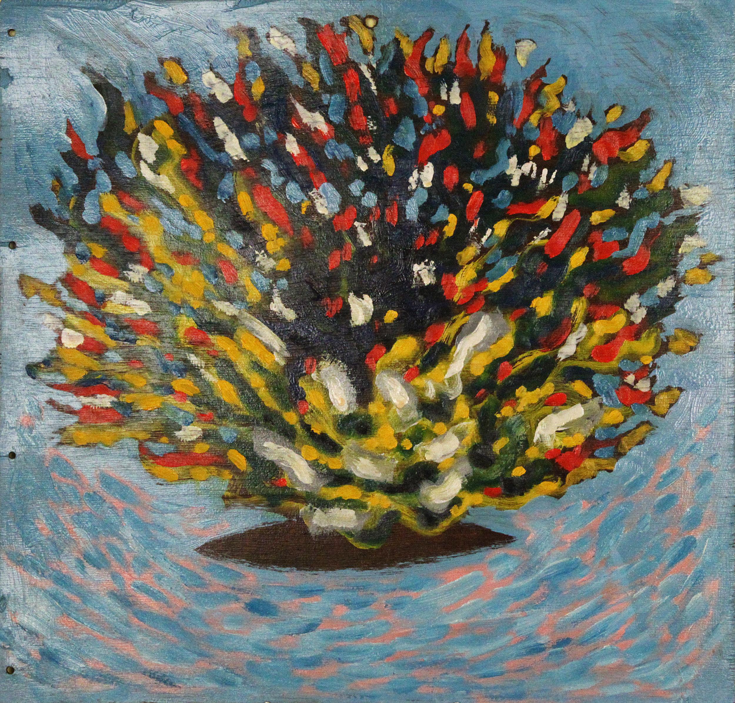 Pot de fleurs sur une mer bleu , 2003, huile sur bois / oil on wood, 13 in. x 13 ½ in. / 33 x 34,29 cm.