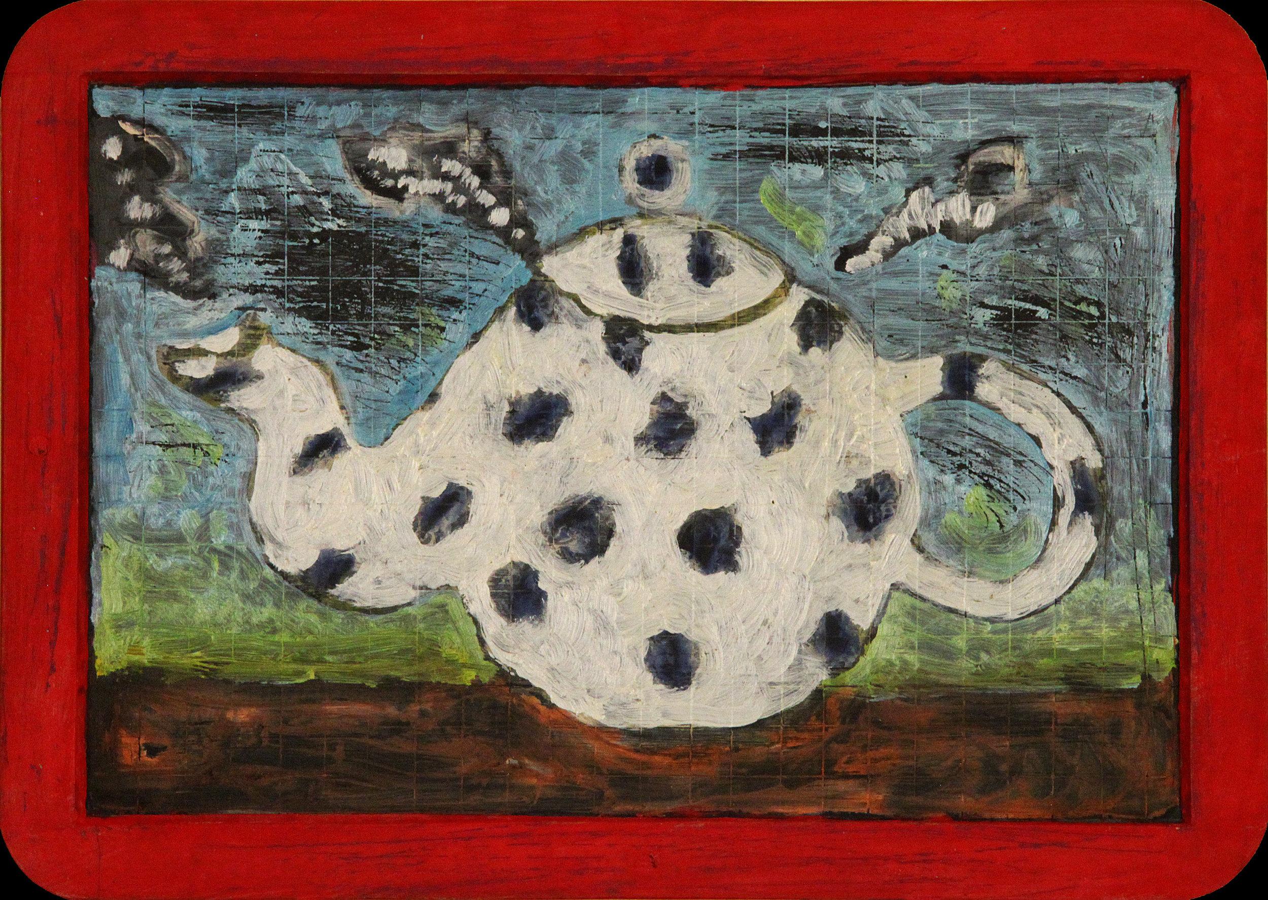 Sans-titre  /  Untitled , circa 2001, huile sur deux faces d'une ardoise avec cadre de bois peint en rouge / two-sided oil on red wood-framed blackboard, 7 ¾ in. x 10 ¾ in. / 19,68 x 27,3 cm.