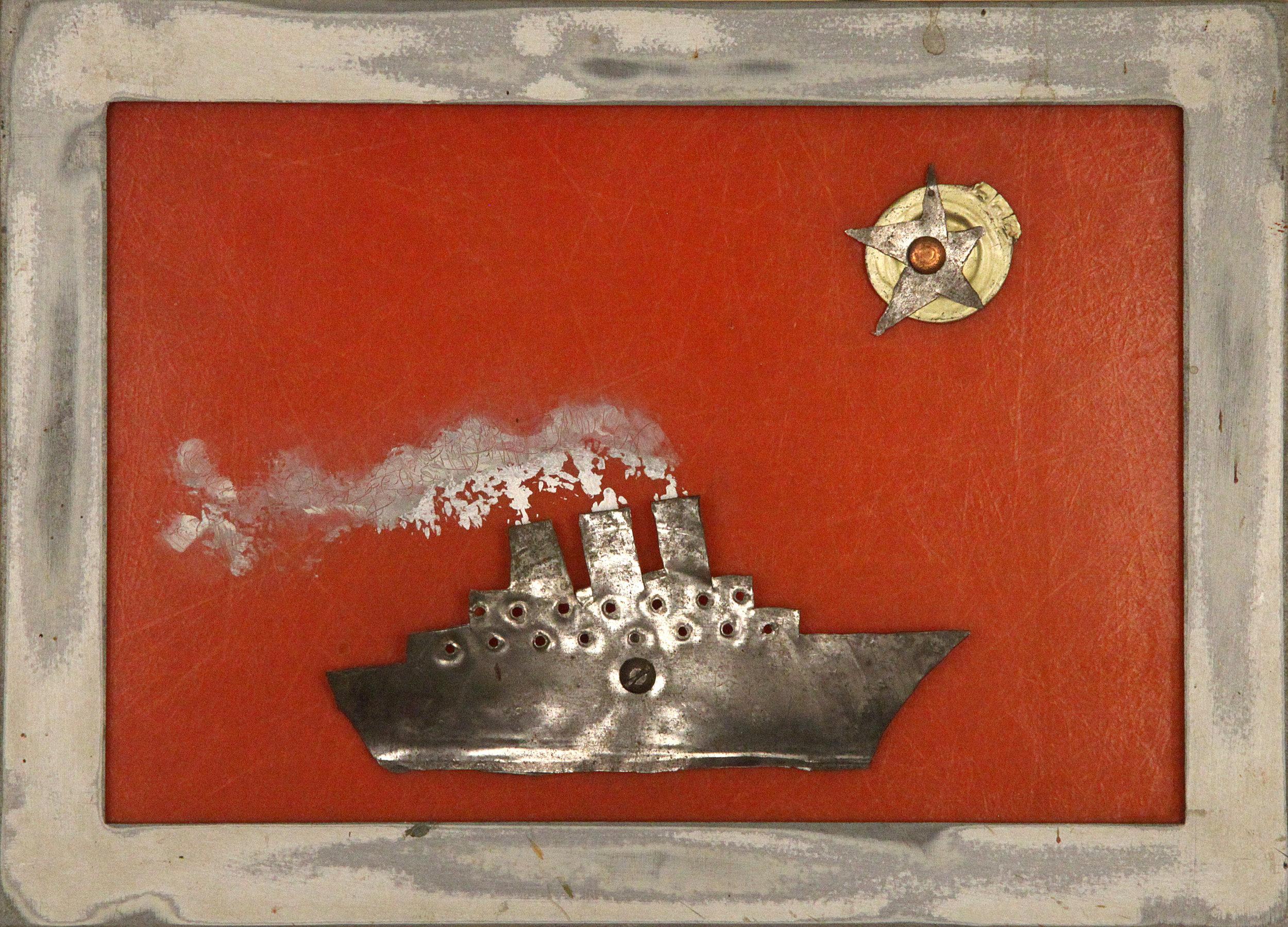 Sans-titre  /  Untitled , circa 2001, cadre, bâteau et soleil en métal sur fond de plastique-fibre de verre orangé / metal frame, metal boat and sun on orange plastic-fibre glass, 7 ¾ in. x 10 ¾ in. / 19,68 x 27,3 cm.