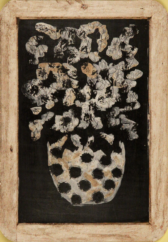 Sans-titre  /  Untitled , circa 2001, huile sur deux faces d'une ardoise avec cadre de bois / two-sided oil on wood-framed blackboard, 7 ¾ in. x 10 ¾ in. / 19,68 x 27,3 cm.