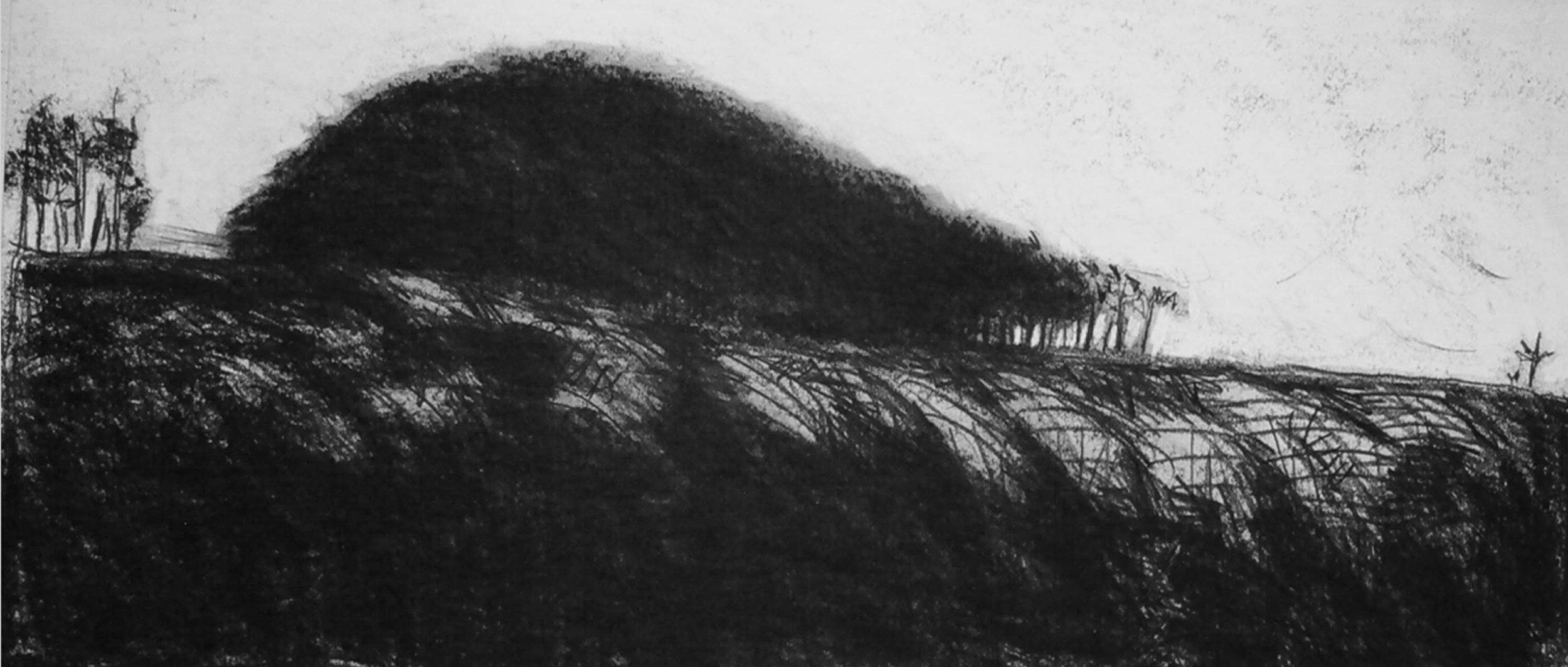 Charcoal Landscape , circa 2008,fusain sur papier / Charcoal on paper
