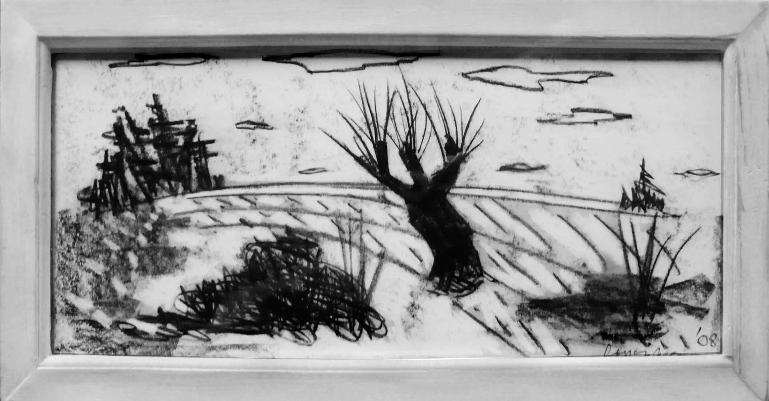 Paysage au fusain U.K .,circa 2008, fusain sur papier / Charcoal on paper