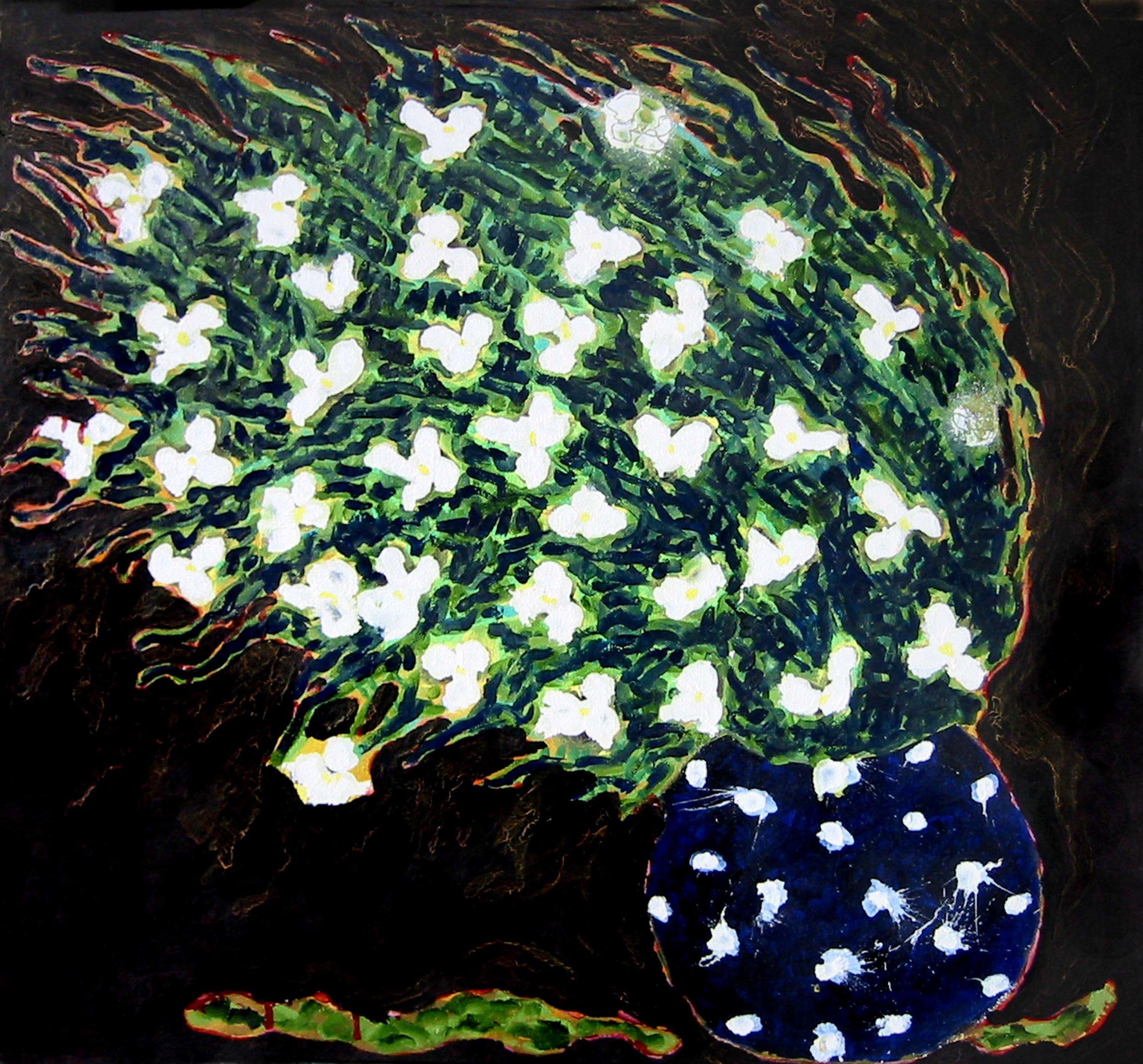 Pot de fleurs fuyant de LaVialle , 2000, huile sur toile / oil on canvas