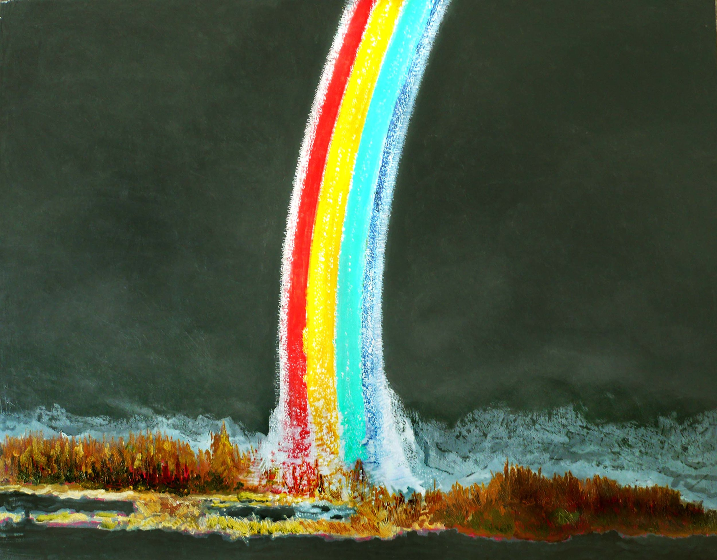 Rainbow somewhere in East Anglia , 2008, huile sur toile / oil on canvas