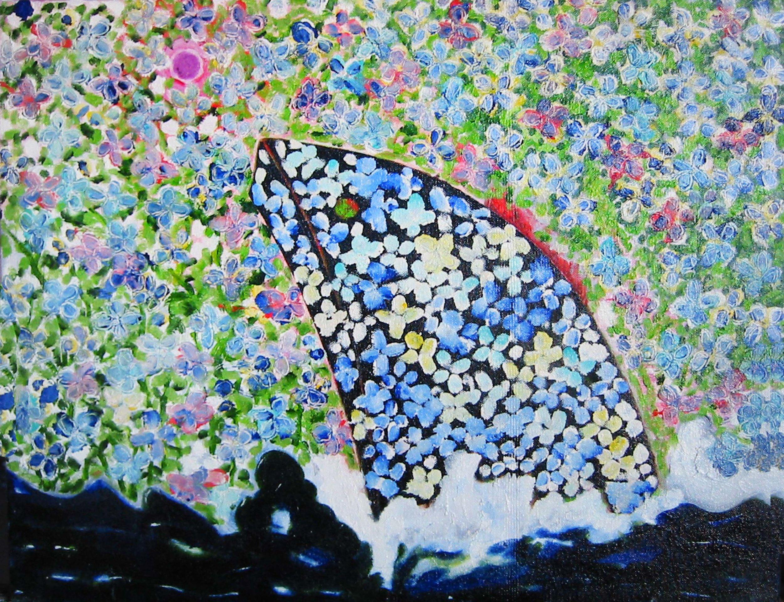 Bateau fleuri , circa 2001, huile sur toile / oil on canvas