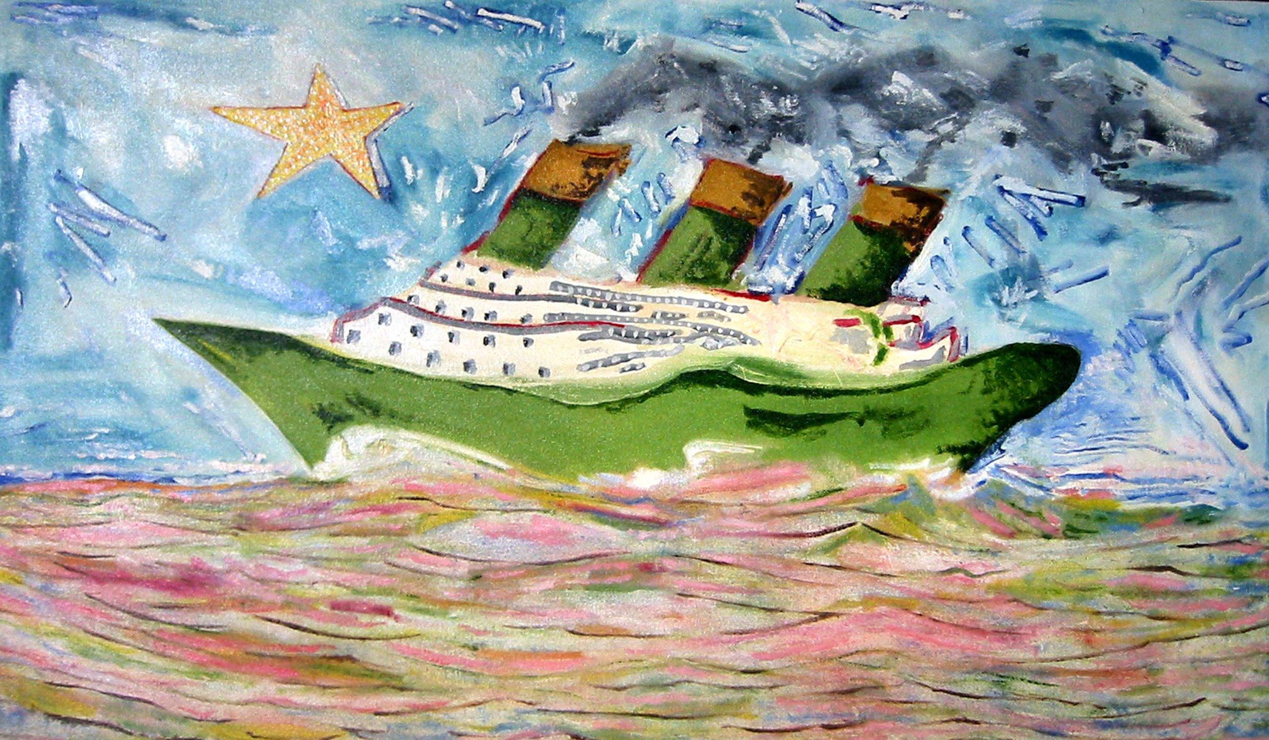 Bateau vert , circa 2001, huile sur toile / oil on canvas