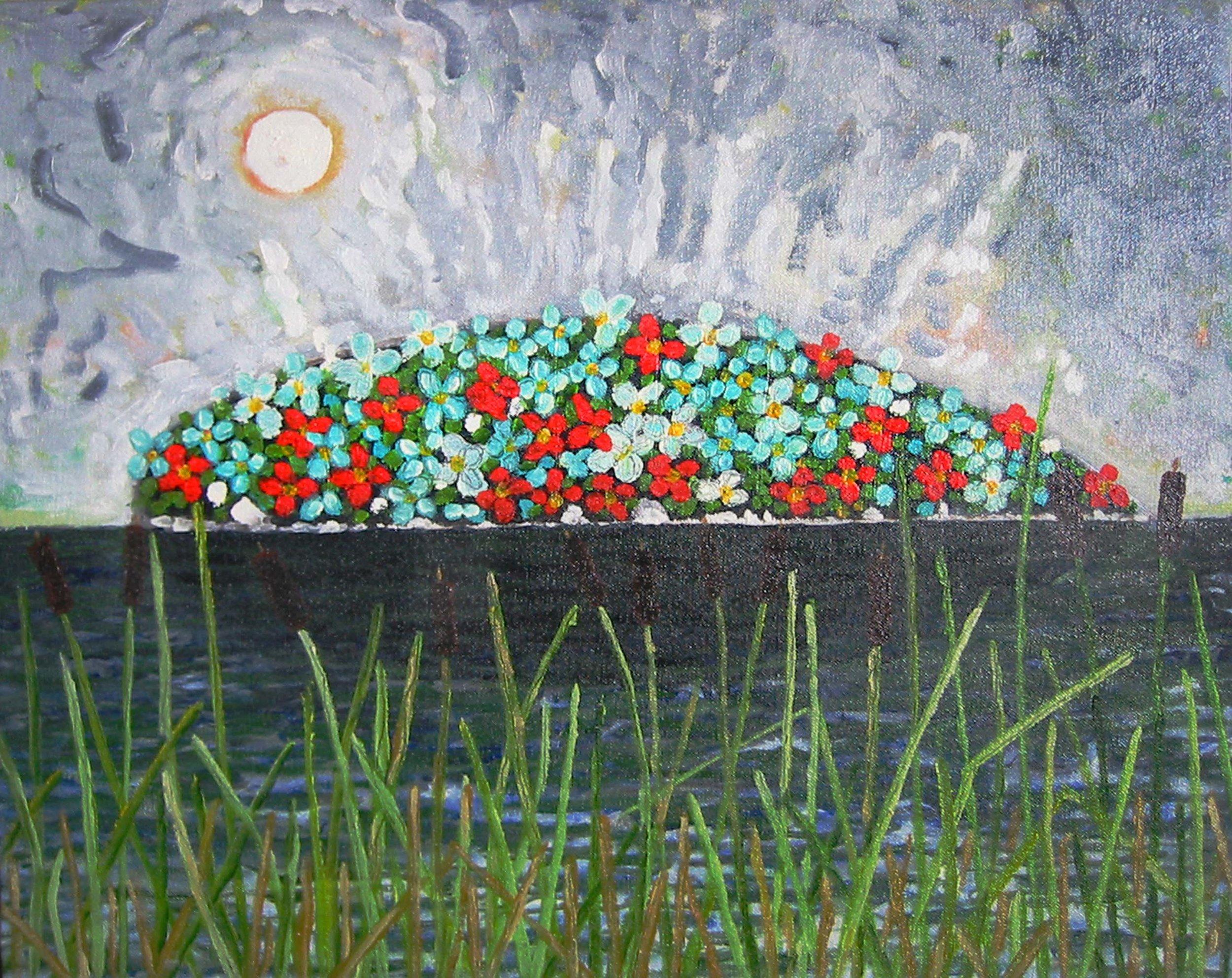 Épave dans les quenouilles , circa 2001, huile sur toile / oil on canvas