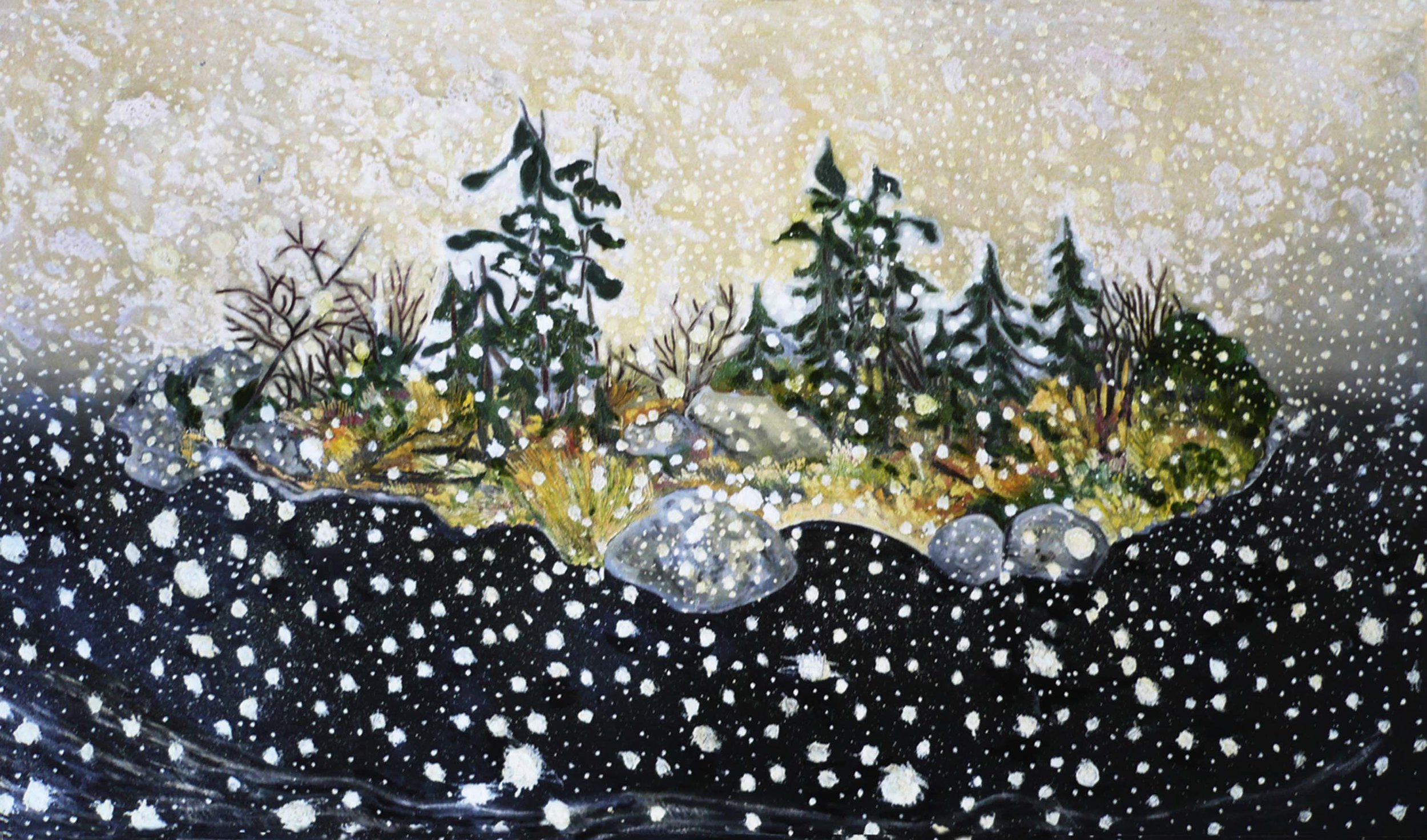 First snow , circa 2001, huile sur toile / oil on canvas