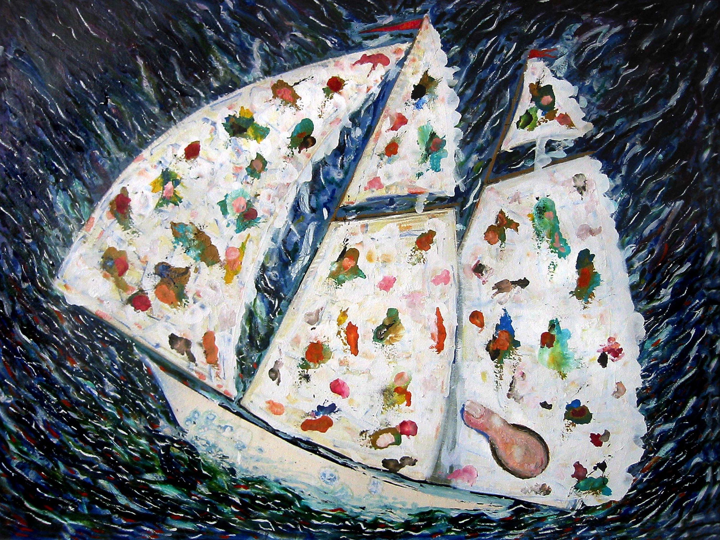 Goélette palette , circa 2001, huile sur toile / oil on canvas