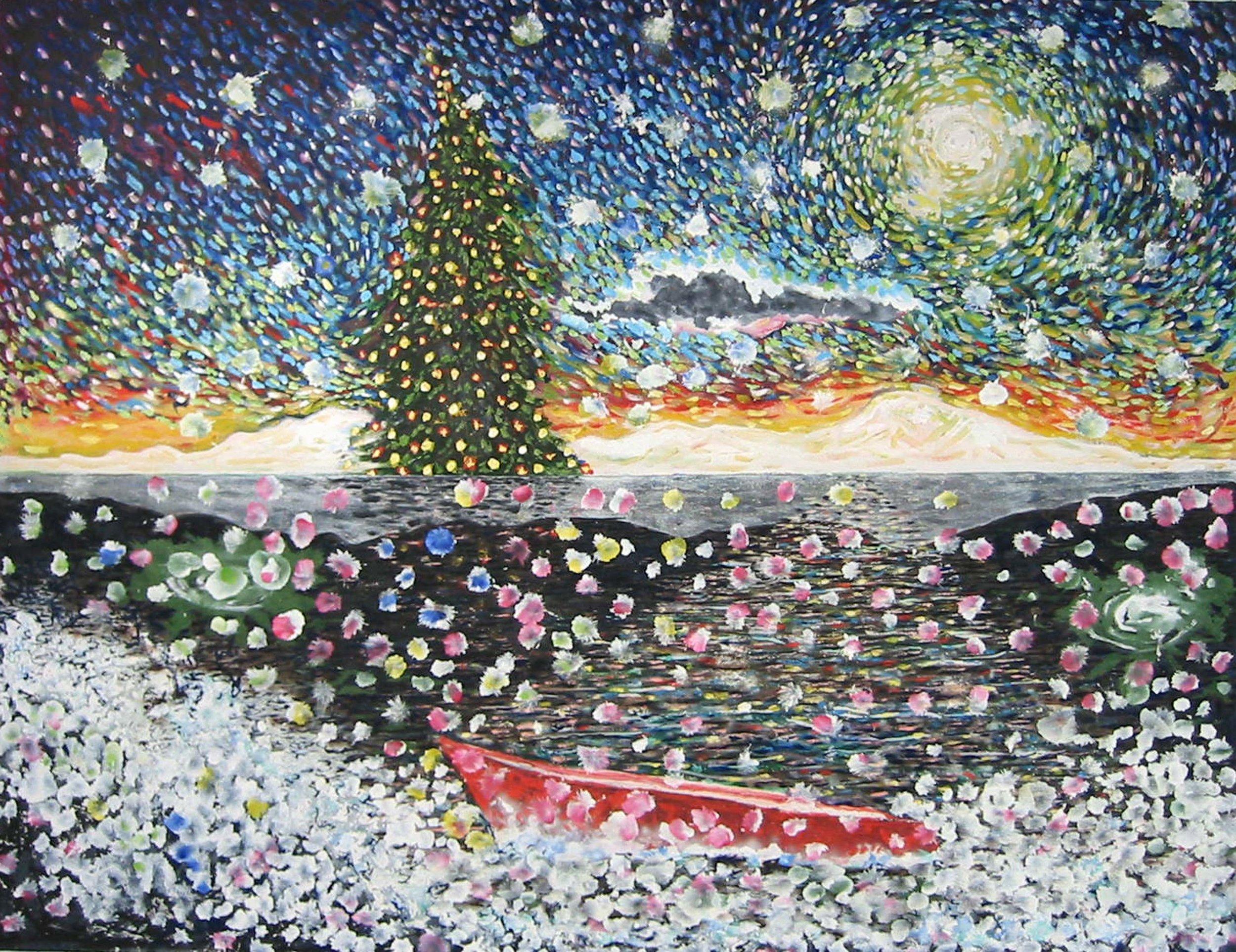 Starry Night Bateau , circa 2001, huile sur toile / oil on canvas