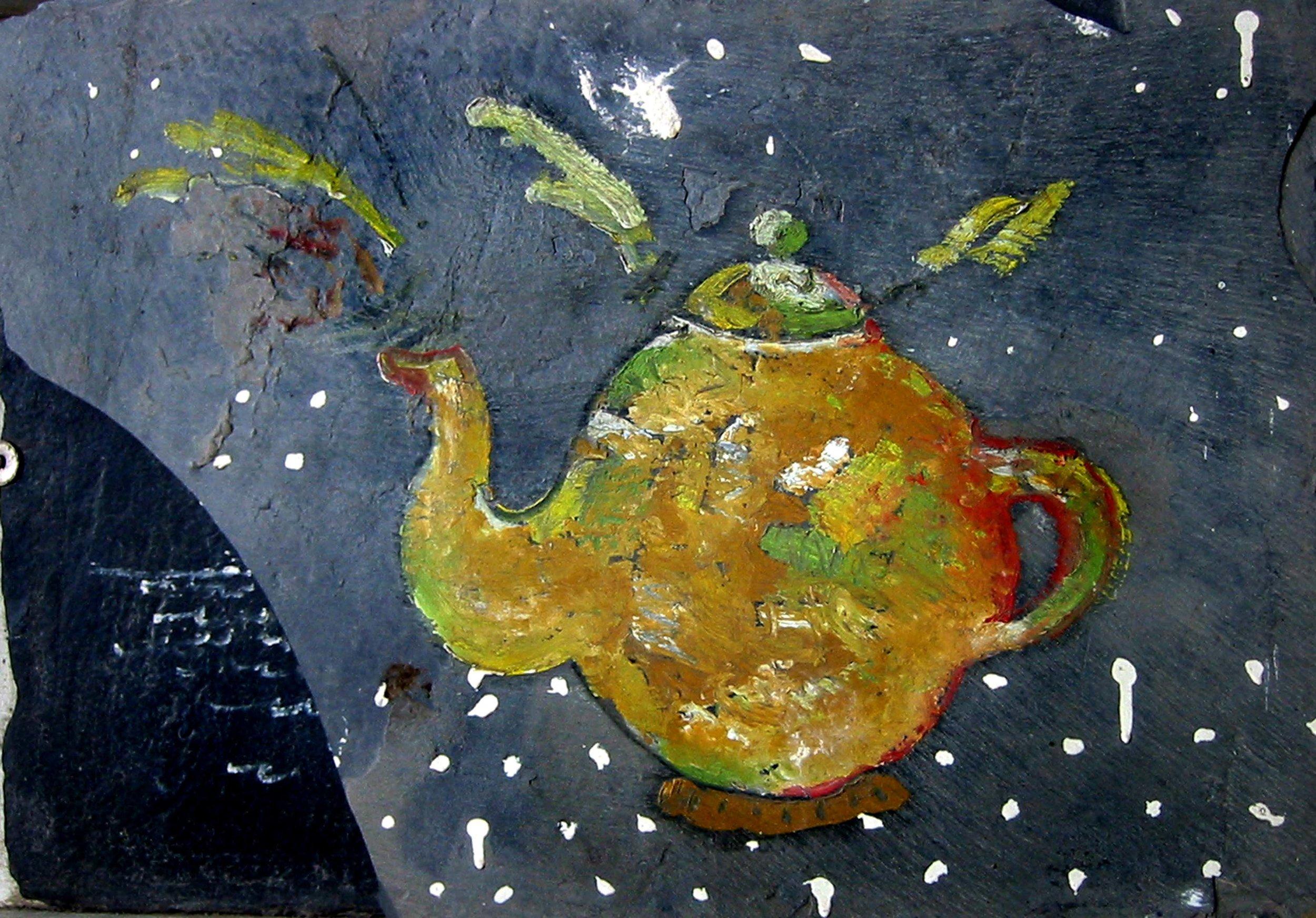 Théière sur ardoise , circa 2001