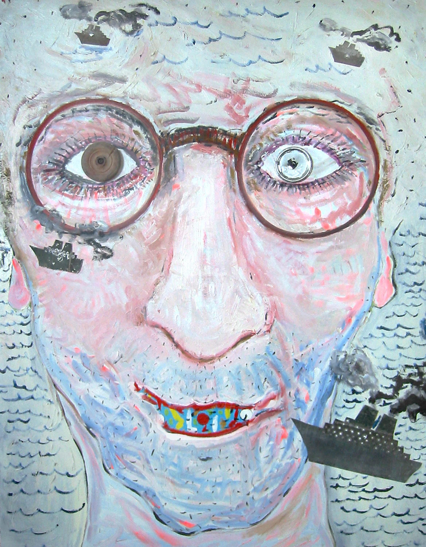 Autoportrait avec un mal de dents , circa 2002, huile sur toile / oil on canvas