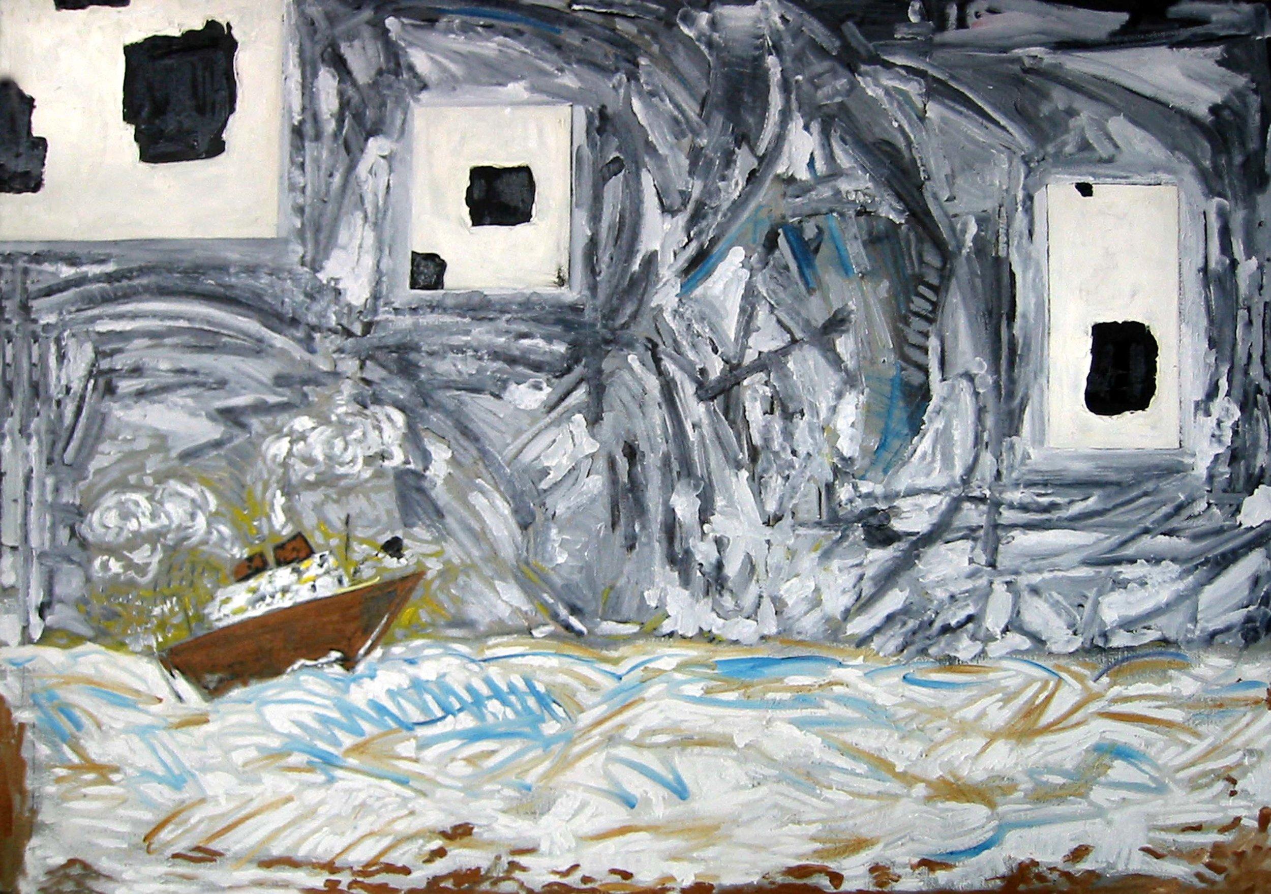 Bateau peau de vache , circa 2002, huile sur toile / oil on canvas
