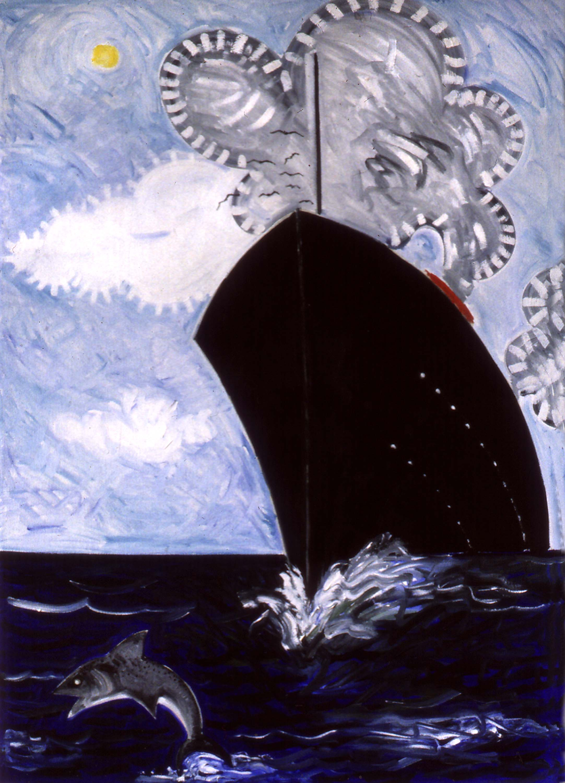 Bateau grec , circa 2004, huile sur toile / oil on canvas