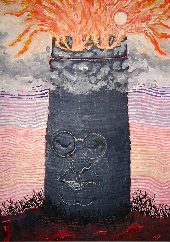 Tour de feu , circa 2004, huile sur toile / oil on canvas