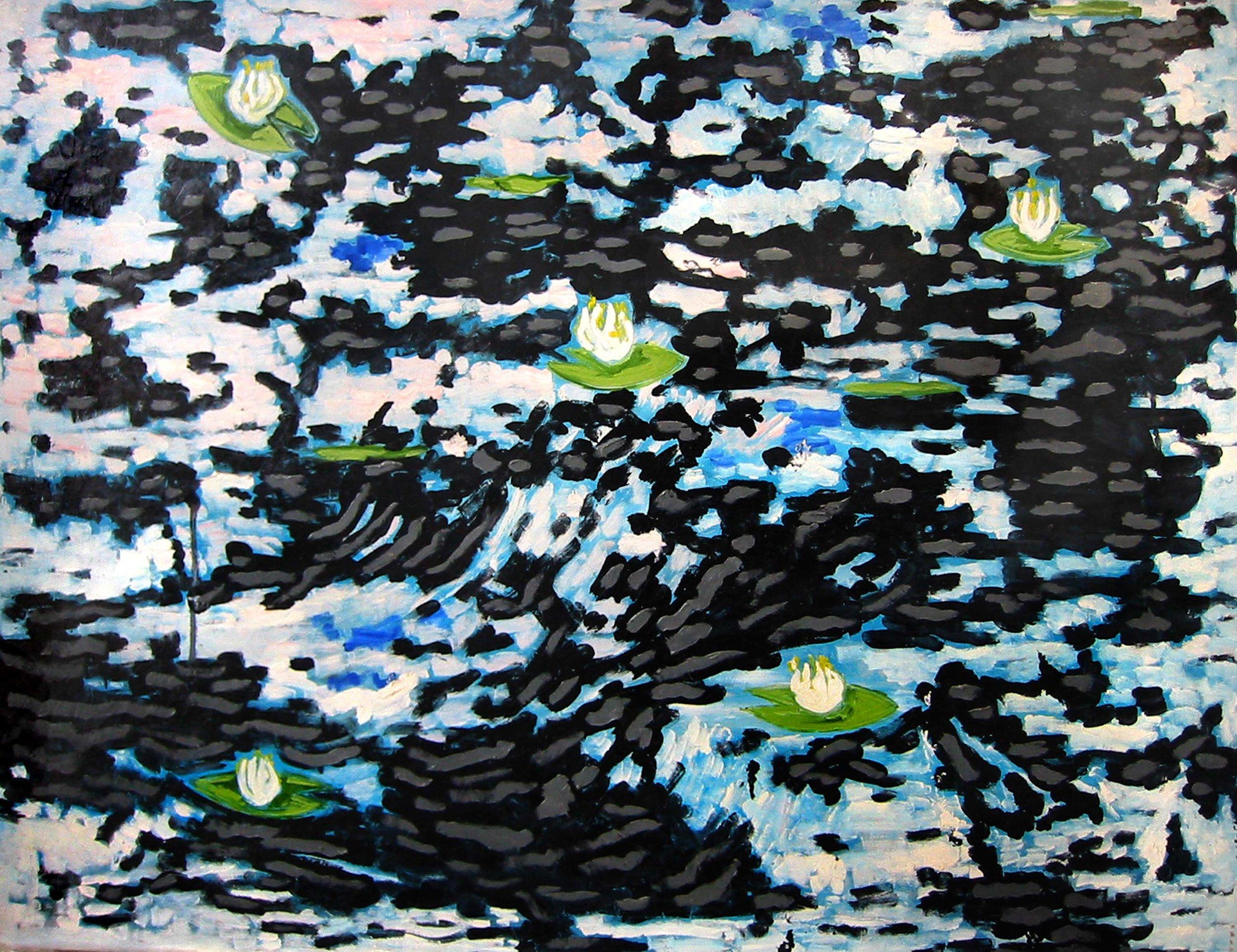 Réflexions avec nénuphars , circa 2005, huile sur toile / oil on canvas