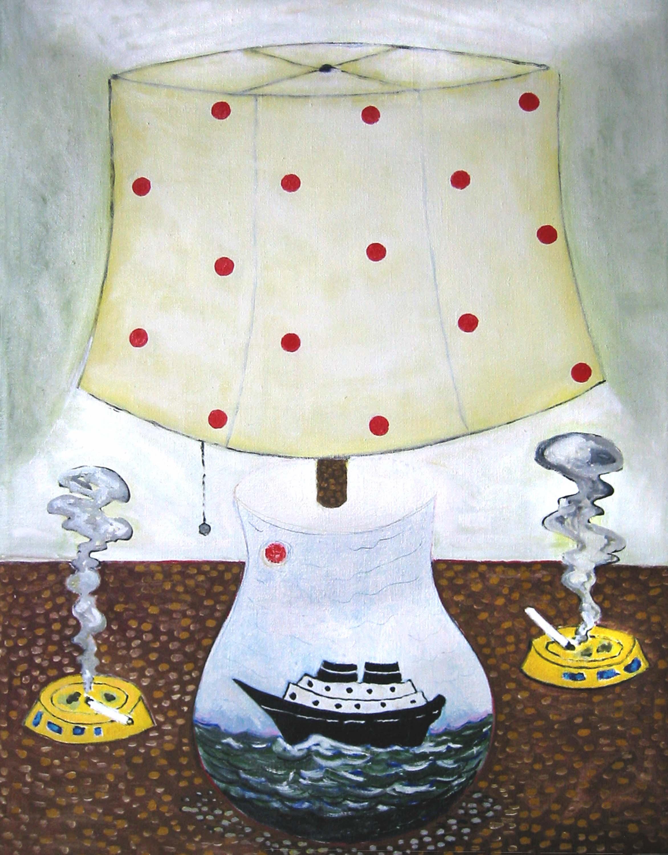 Bateau lampe avec cigarettes , circa 2006, huile sur toile / oil on canvas