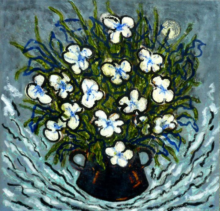 Pot de fleurs en orbite , 2010-2011, huile sur toile / oil on canvas