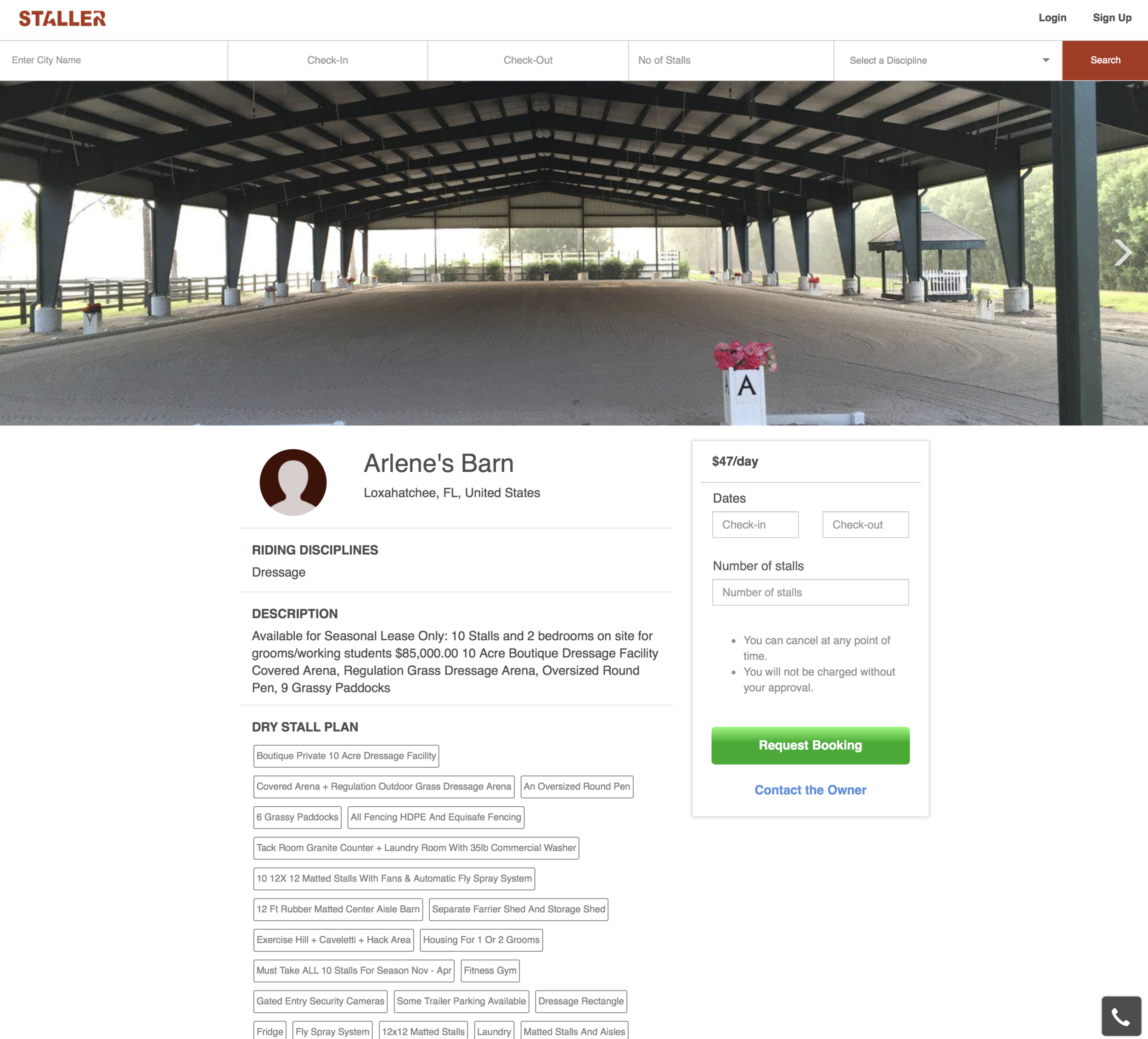 Example of a Staller barn rental