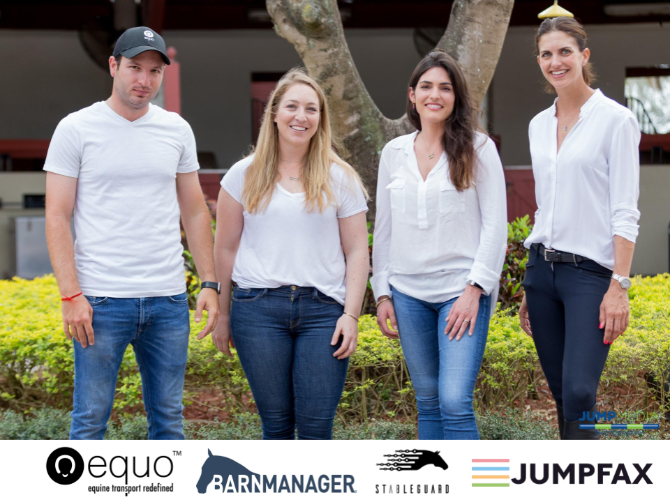 From left (Steven Bluman, CEO Equo, Nicole Lakin, CEO BarnManager, Alexa Anthony, CEO StableGuard, Alicia Heiniger, CEO Jumpfax)