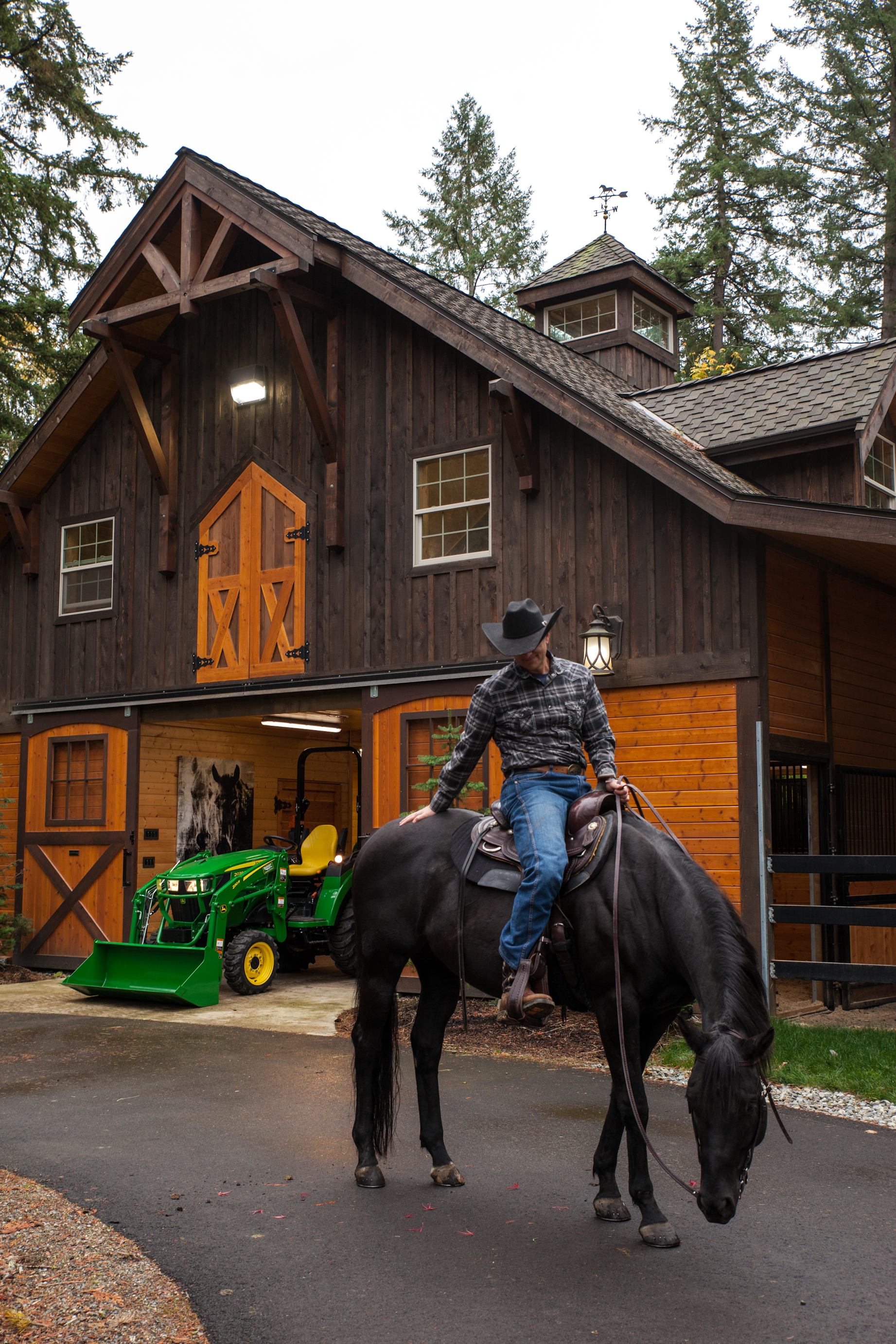 Two of Patrick's favorite places, riding his horse and being at his 'smart barn.'