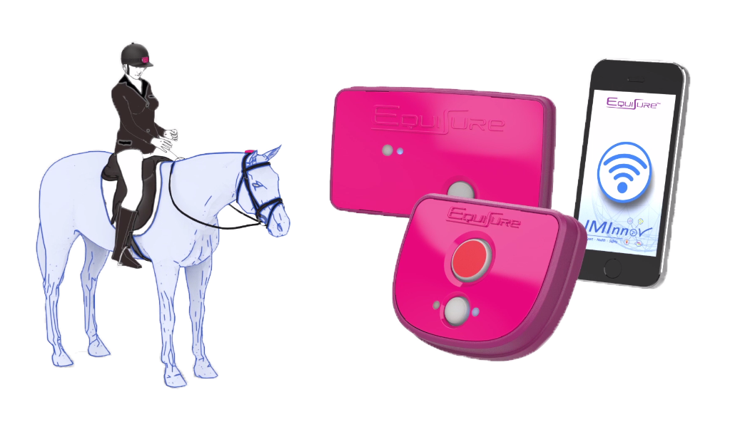 The product includes two wearable devices - one for rider and one for the horse.