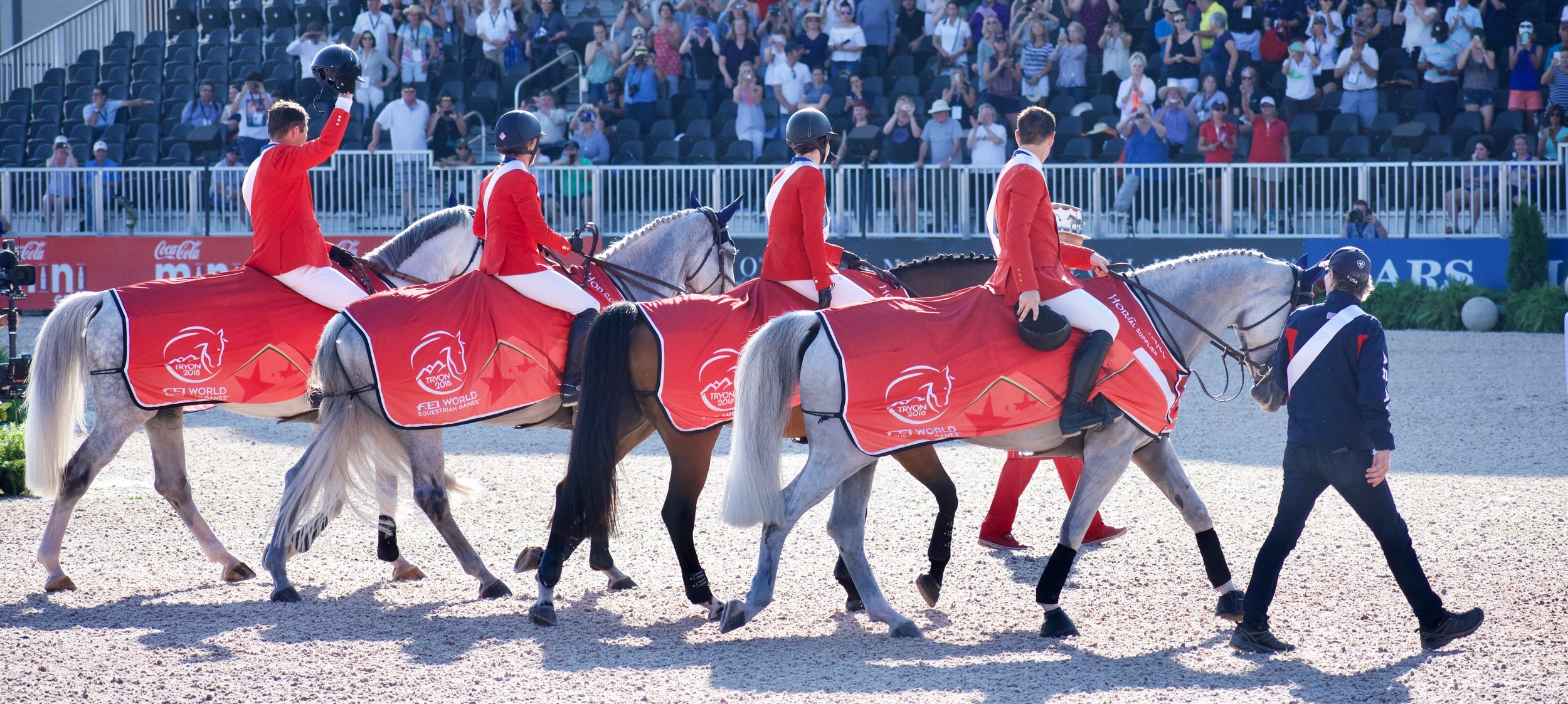 Team work makes the dream work! At the World Equestrian Games in 2018 the U.S. Gold Medal team was in step during the awards ceremony. pc: The Tech Equestrian