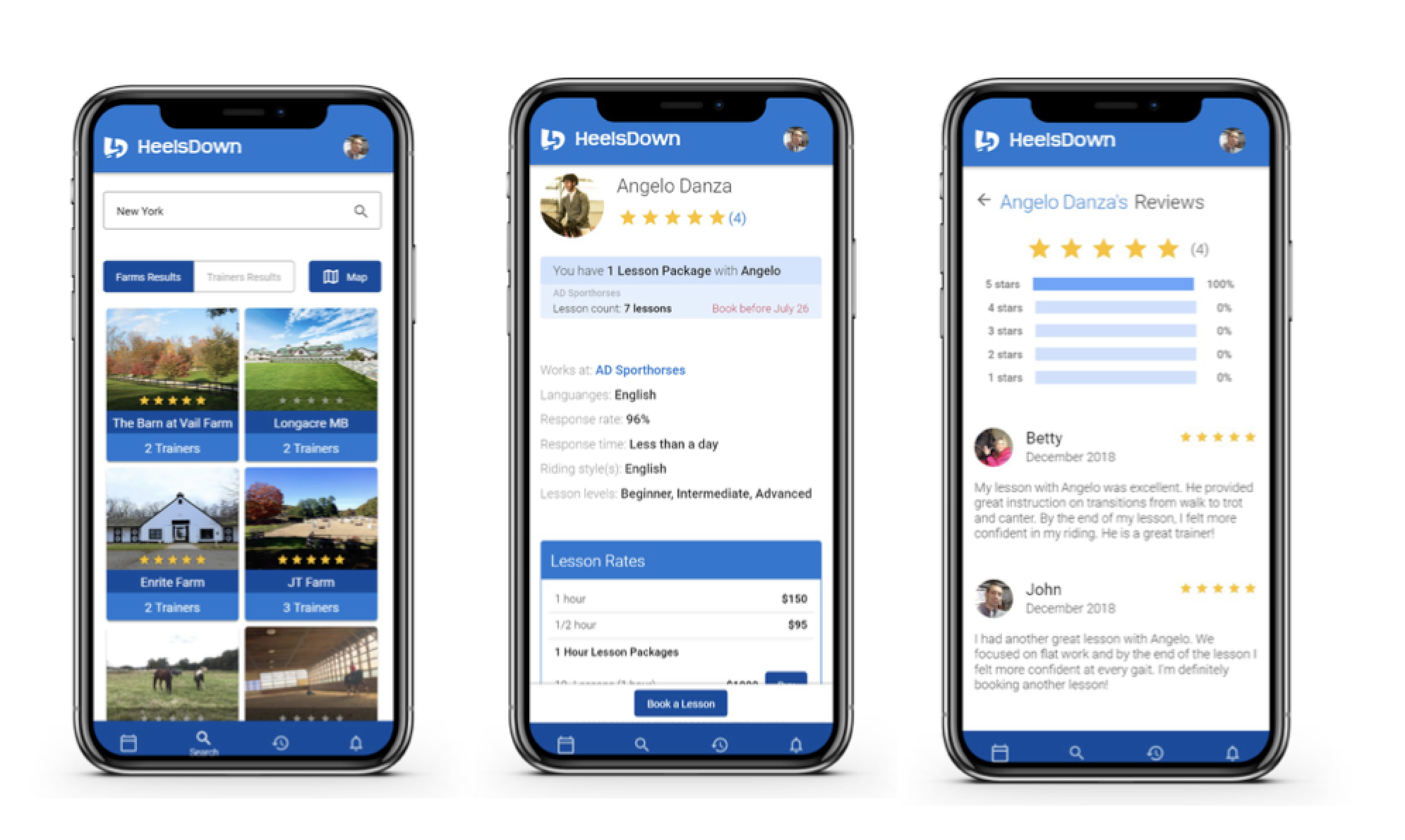 (from left to right) Farm Search view, Trainer Profile and Trainer Reviews.