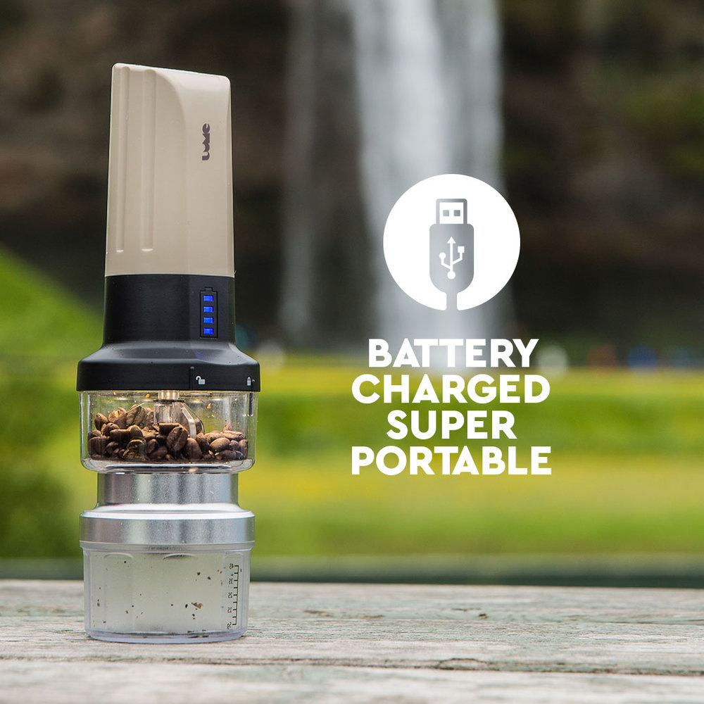 The world's first rechargeable travel automatic grinder and camp light