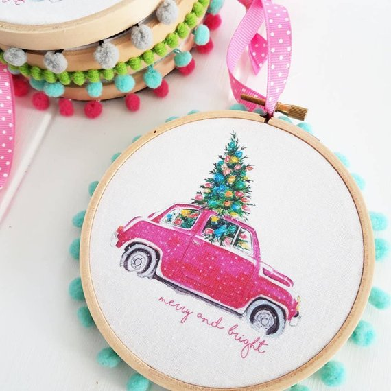 Three Charms Handmade Merry and Bright Embroidery Hoop.jpg