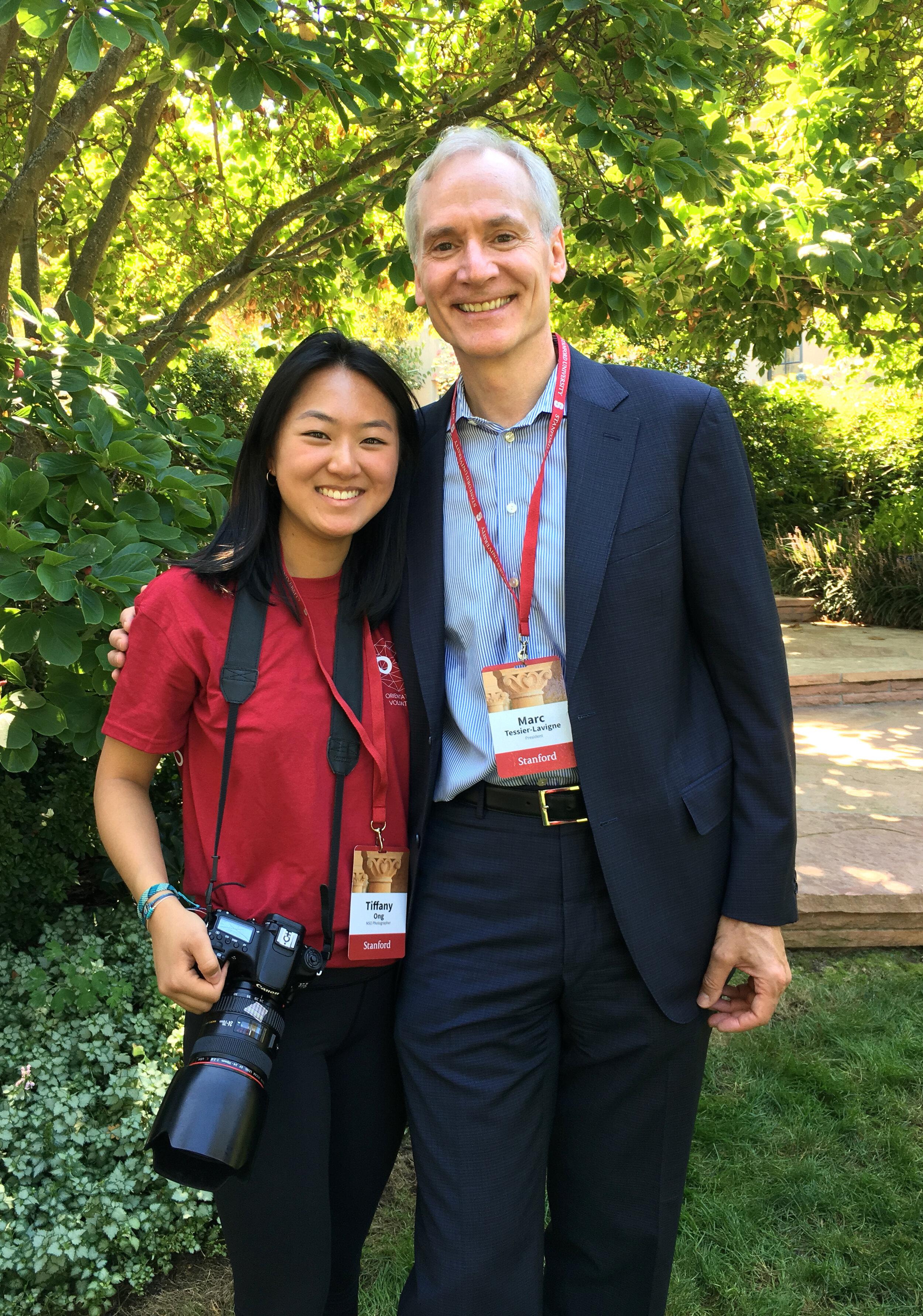 Posing with Marc Tessier-Lavigne, Stanford's president
