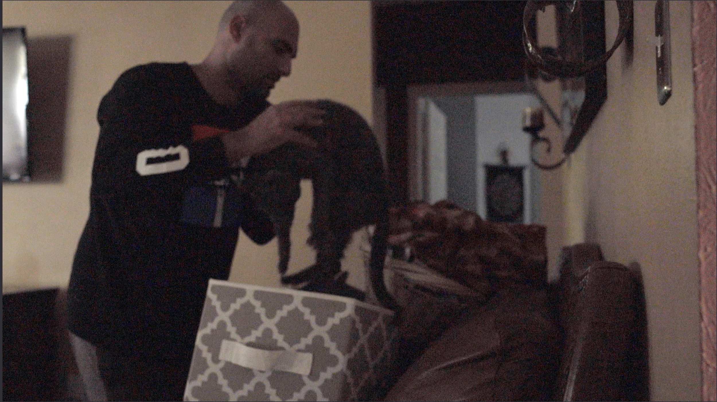 A frame grab of the cat being put into a basket.