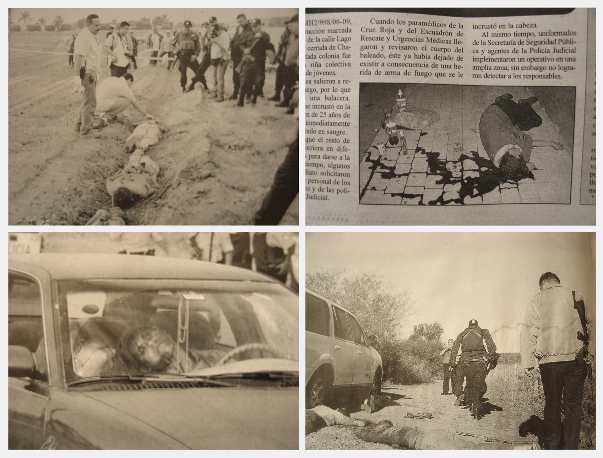 Newspaper clippings of the daily violence in Mexico.