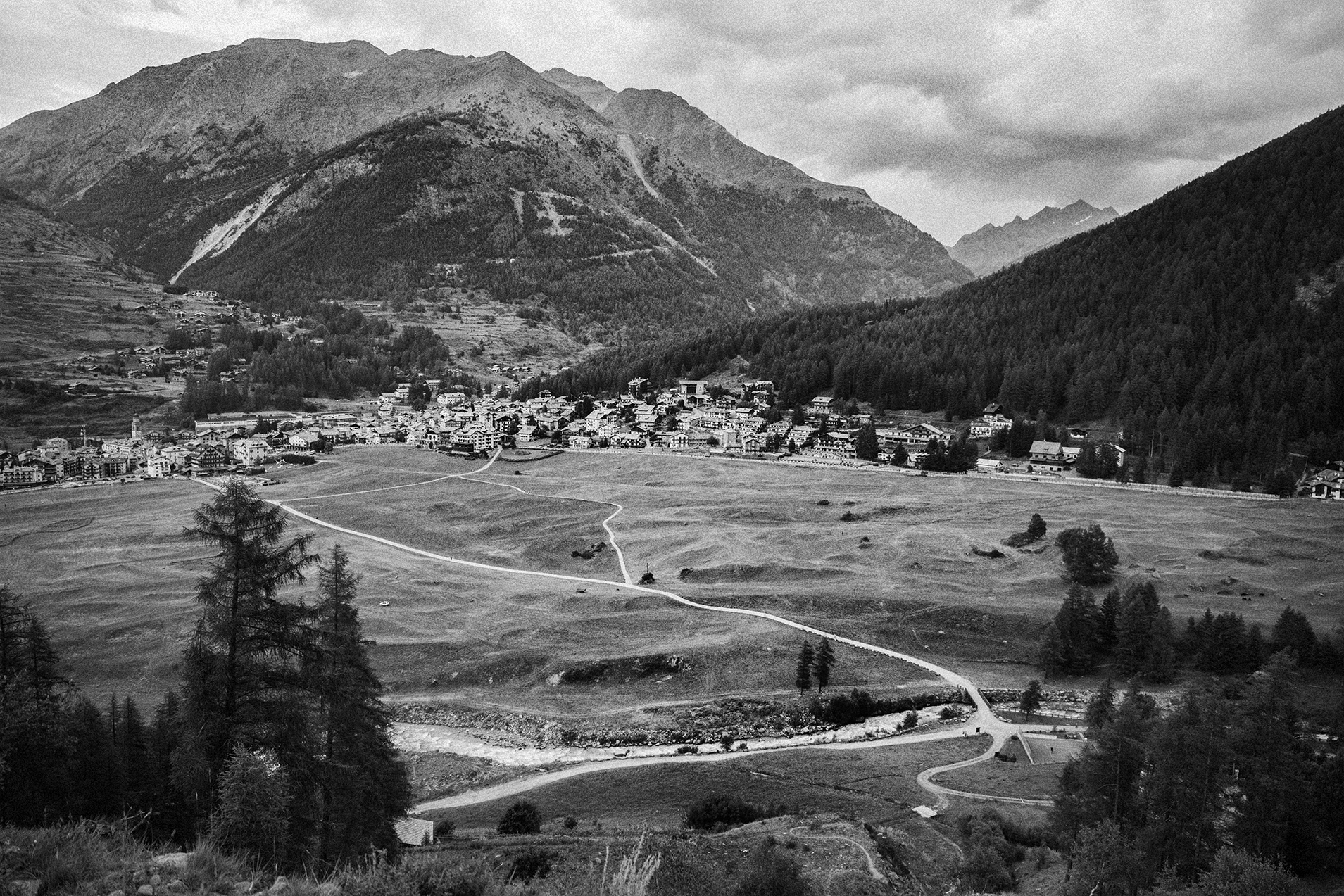 Cogne Valley . In Cogne valley chefs and farmers practice culinary traditions that can be traced back thousands of years. As peaceful as this view was I felt an urgent concern for this place. The mountains that surround the town are literally crumbling due to manmade climate change and trees are dying. The ecological breakdown above will adversely impact the town and valley below.
